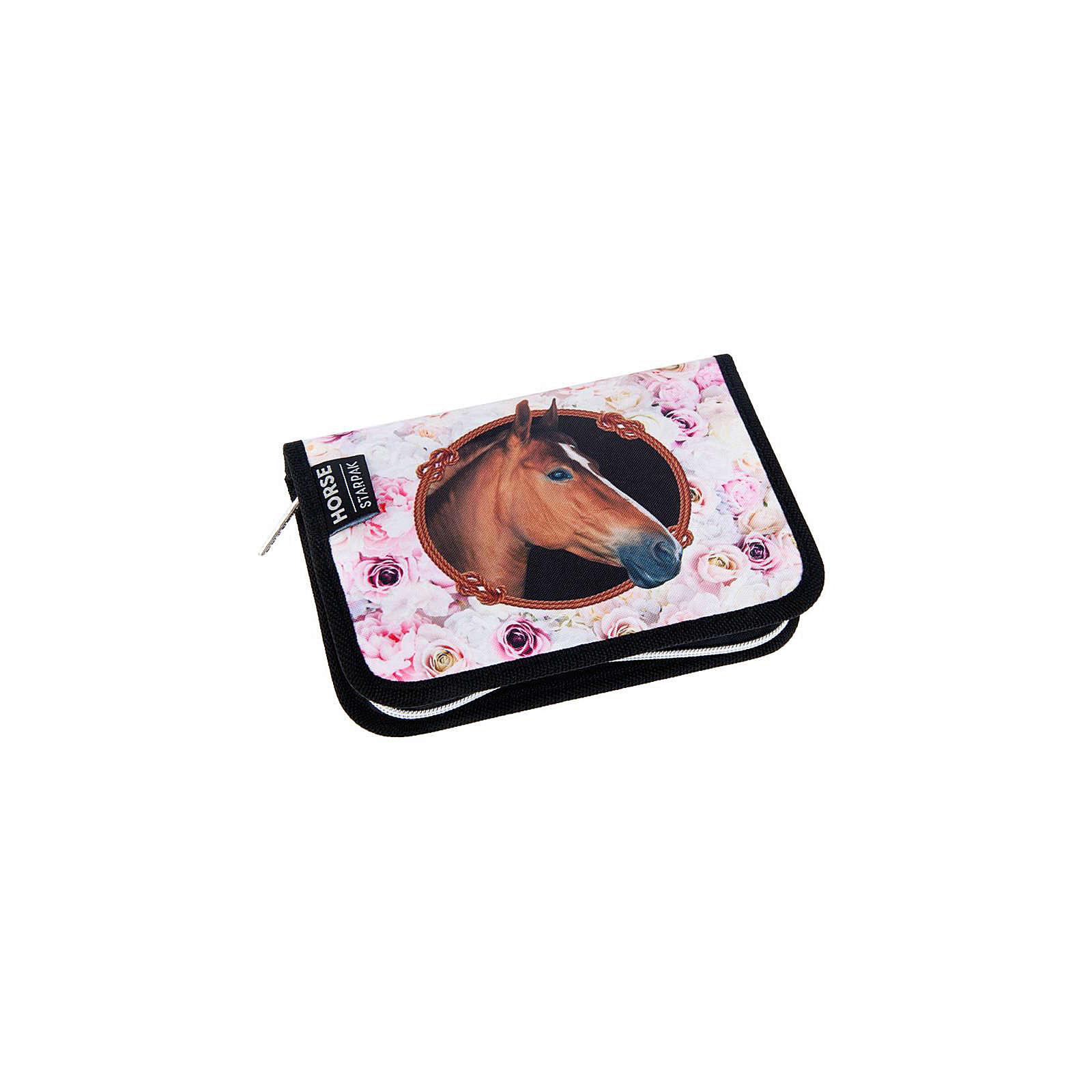 Starpak Federmäppchen HORSES, mit Zubehör rosa/grau Mädchen