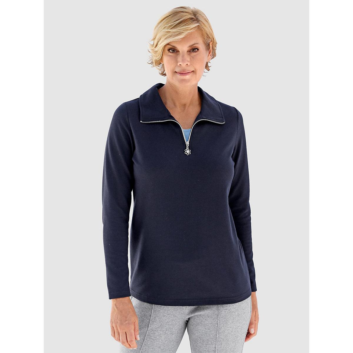 Paola Sweatshirt langarm uni Gerade blickdicht BaumwolleKunstfaser Sweatshirts blau