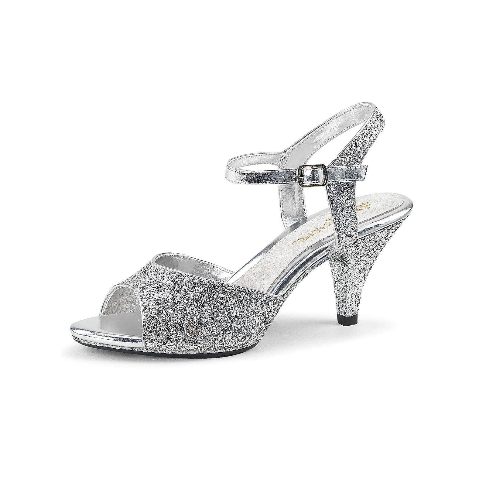 Fabulicious™ Glitzer Sandaletten Belle Riemchensandalen Silber Damen Gr. 39