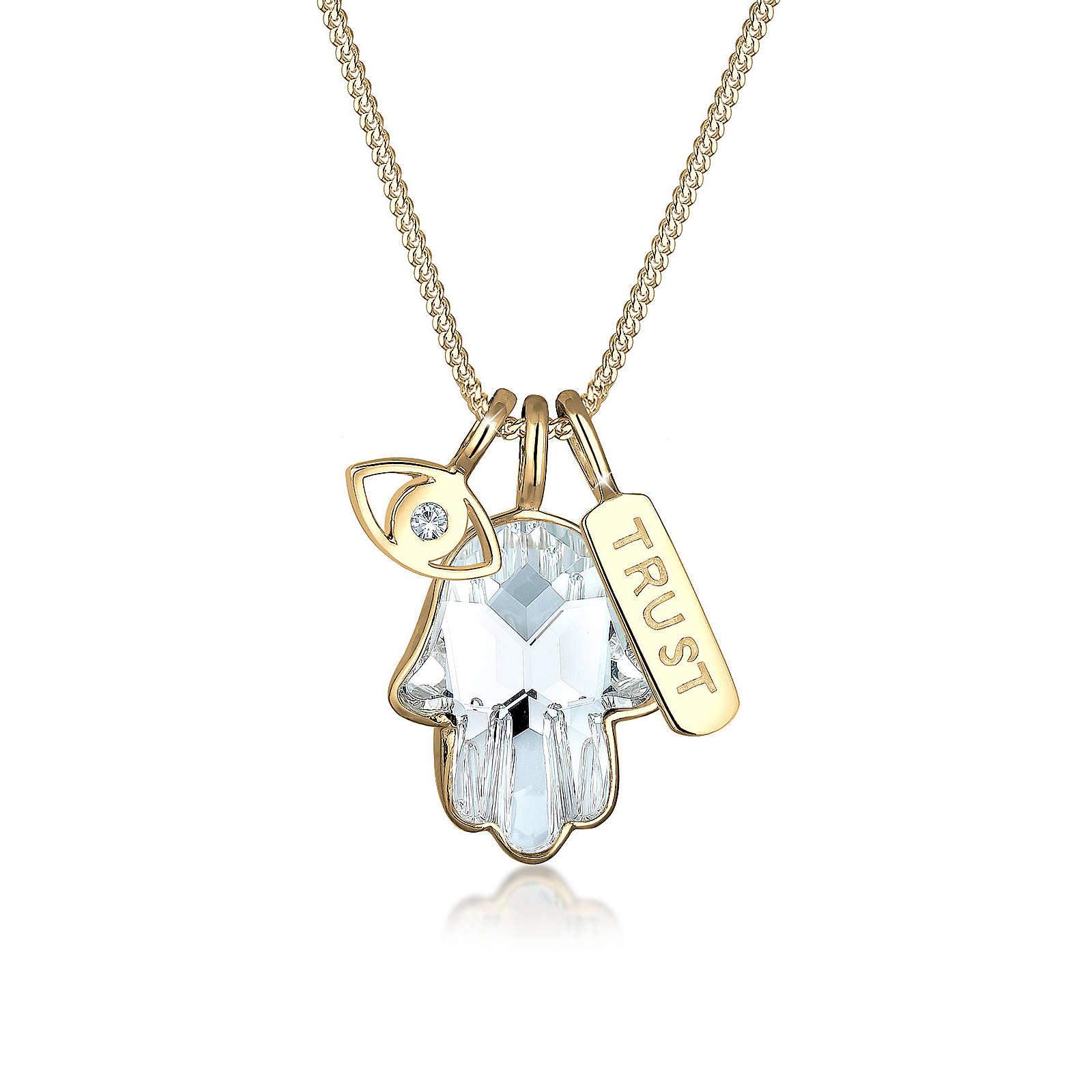 Elli Halskette Hamsa Evil Eye Swarovski® Kristalle 925 Silber Halsketten gold Damen Gr. 45,0