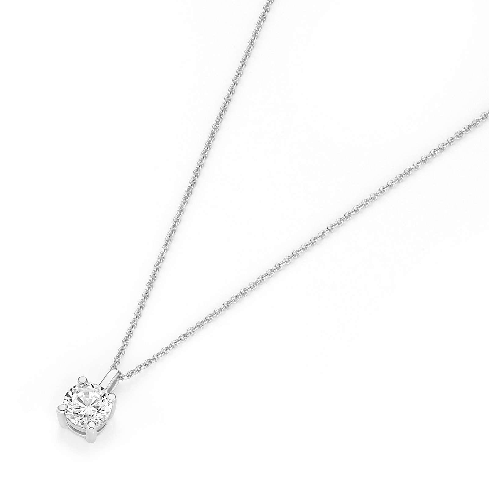 Luigi Merano® Luigi Merano Kette mit Brillant Anhänger Halsketten silber Damen Gr. 45,0
