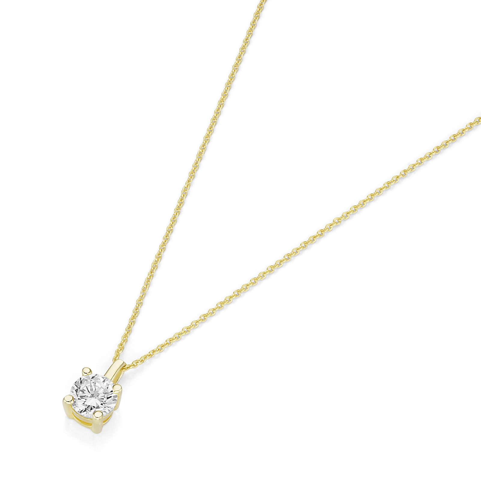 Luigi Merano® Luigi Merano Kette mit Brillant Anhänger Halsketten gold Damen Gr. 45,0