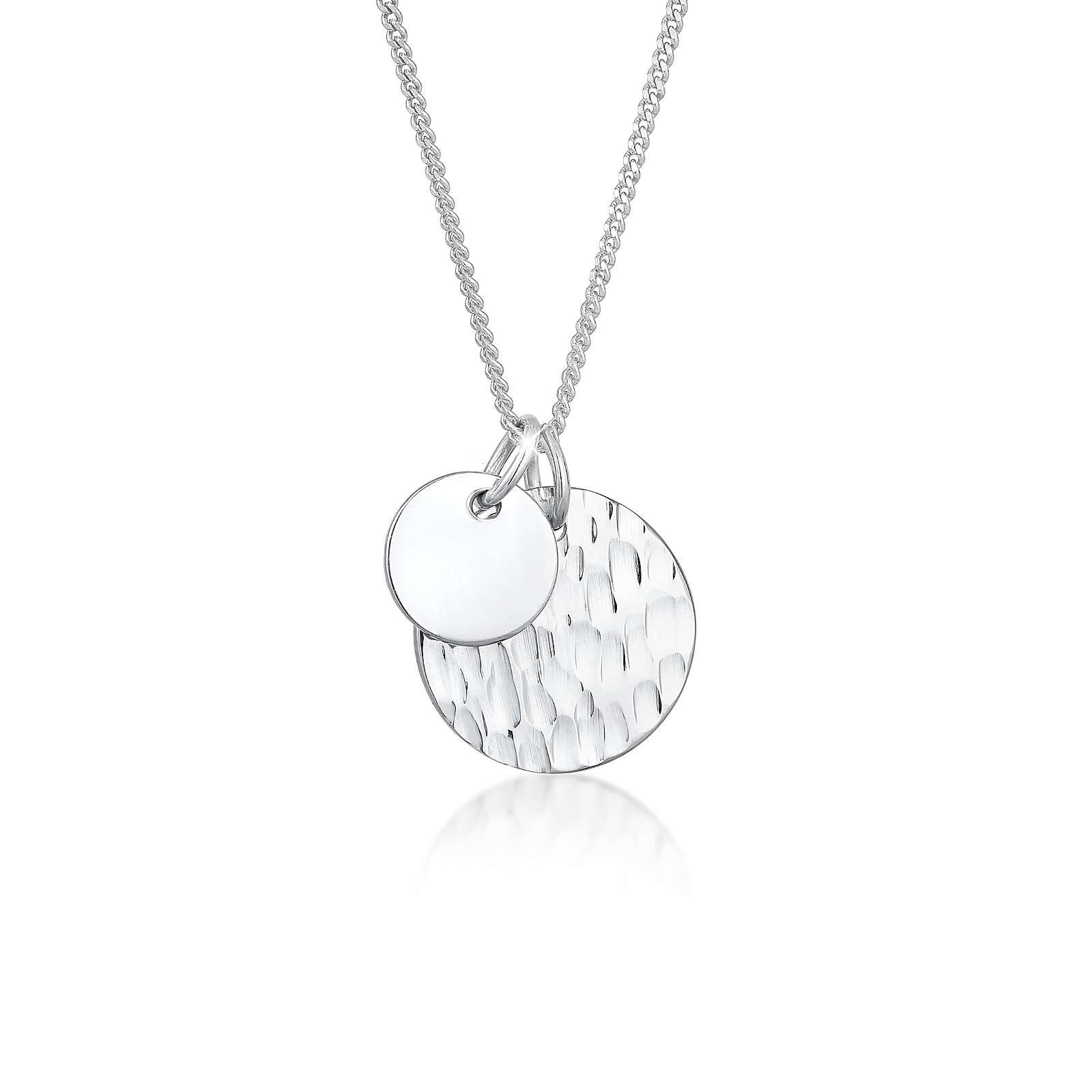 Elli Halskette Plättchen Geo Gehämmert Minimal Look 925 Silber Halsketten silber Damen Gr. 45,0