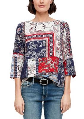 Q//S designed by s.Oliver Damen Bluse mit Allover-Muster Shirt Knöpfe Rot Fashion