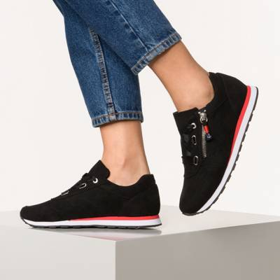 Inselhauptstadt, Soft Mesh Sneaker mit Insel Zip, schwarz