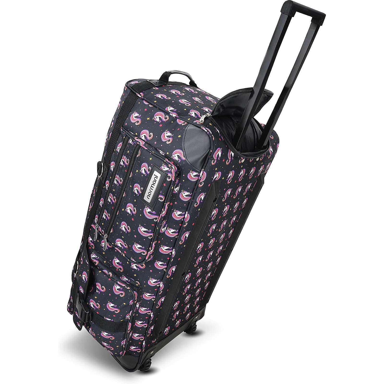 normani® Reisetasche mit 2 Rädern Jumbus 100 Reisetaschen schwarz/rosa