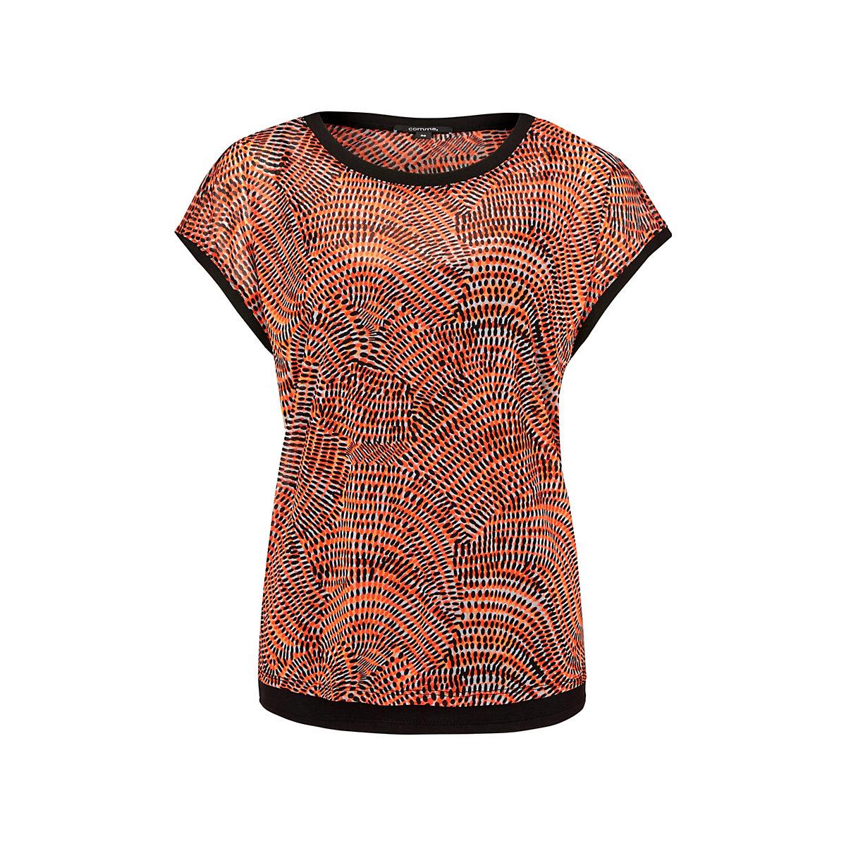 comma Kurzarmshirt aus hauchzartem Mesh T-Shirts orange