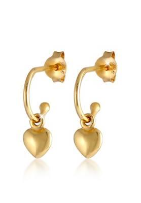 Elli, Elli Ohrringe Halbmond Solitär Swarovski® Kristalle 925 Silber Ohrhänger, gold