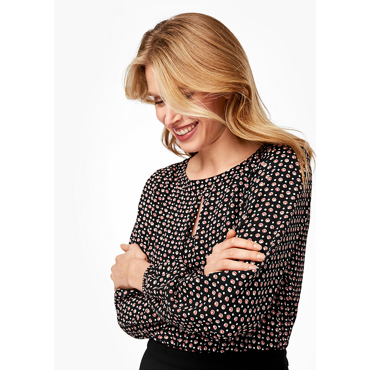 s.Oliver BLACK LABEL Kleid im Fabric-Mix Jerseykleider schwarz