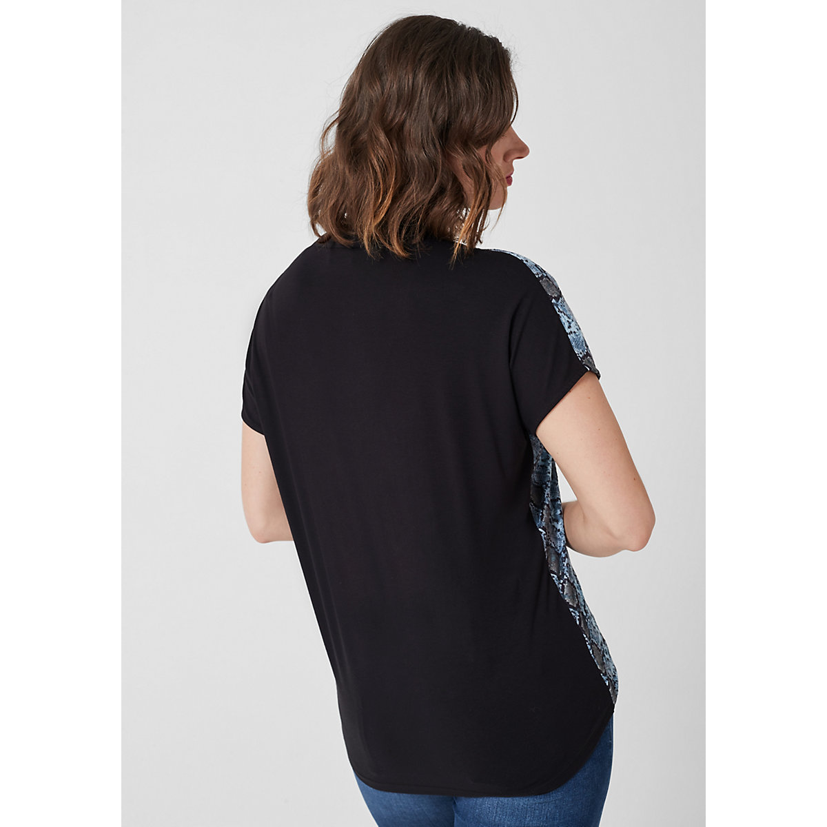 TRIANGLE V-Neck-Shirt mit Schlangen-Muster T-Shirts blau