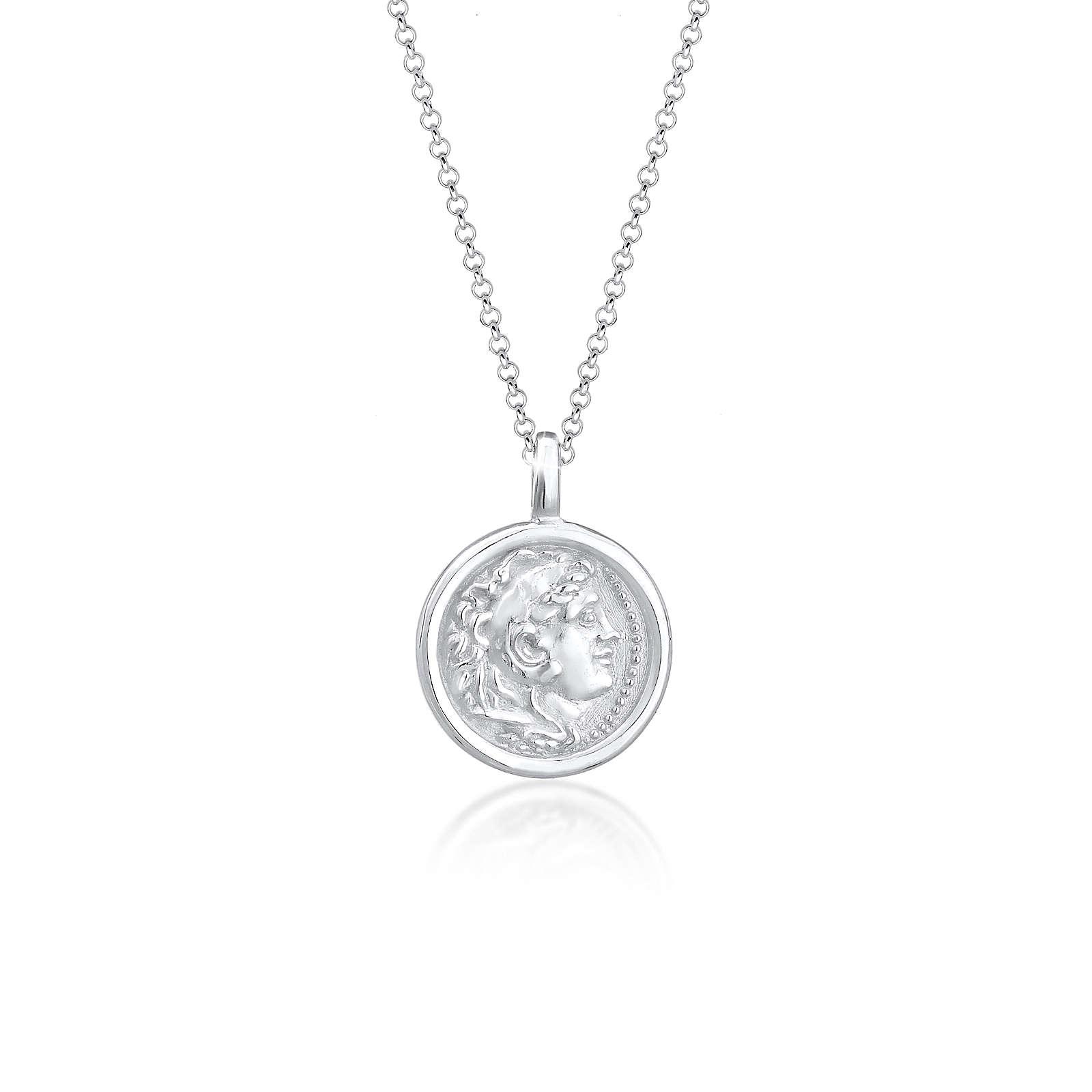Elli Halskette Münze Plättchen Vintage Antik Trend 925 Silber Halsketten silber Damen Gr. 45,0