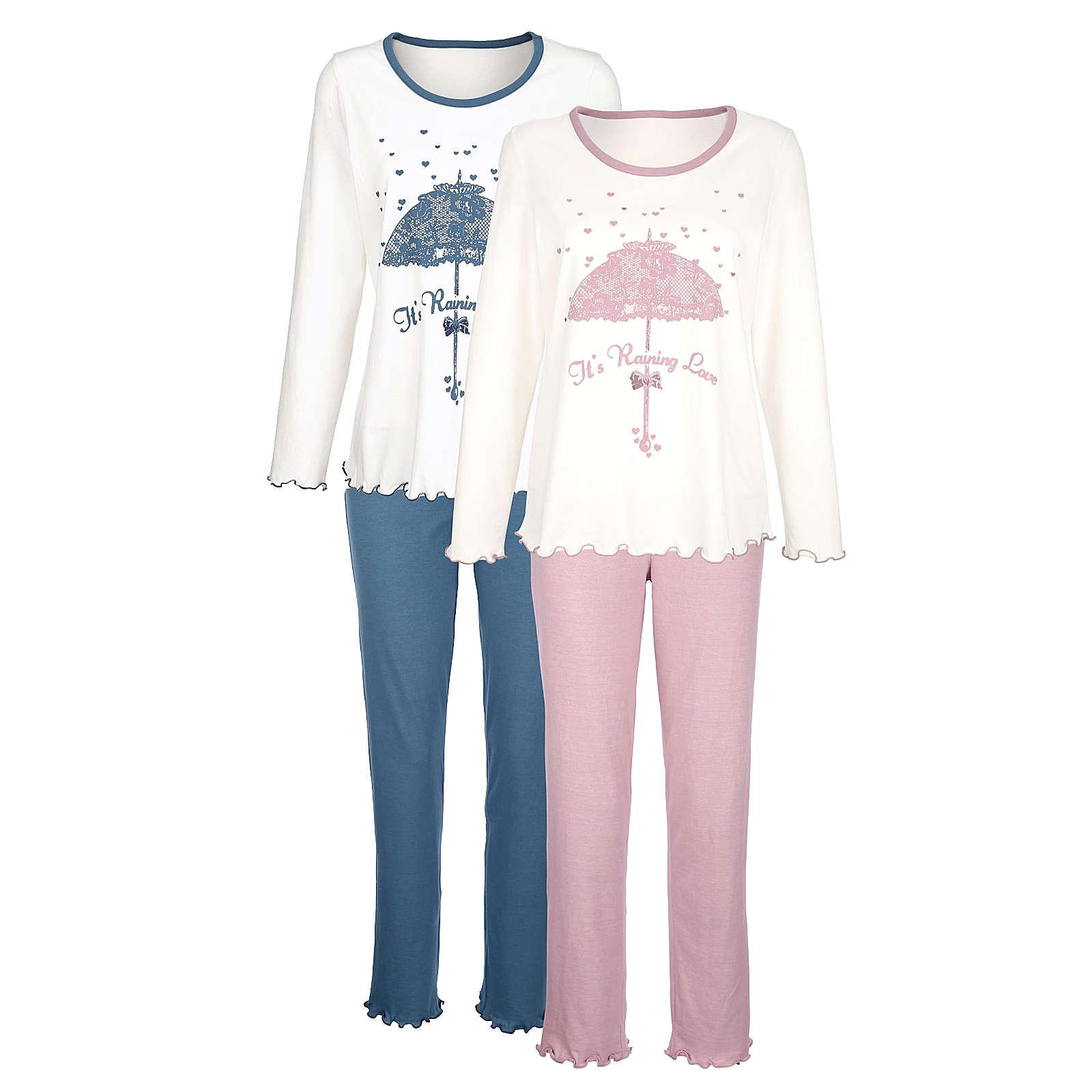 Schlafanzüge langarm blickdicht Baumwolle Schlafanzüge