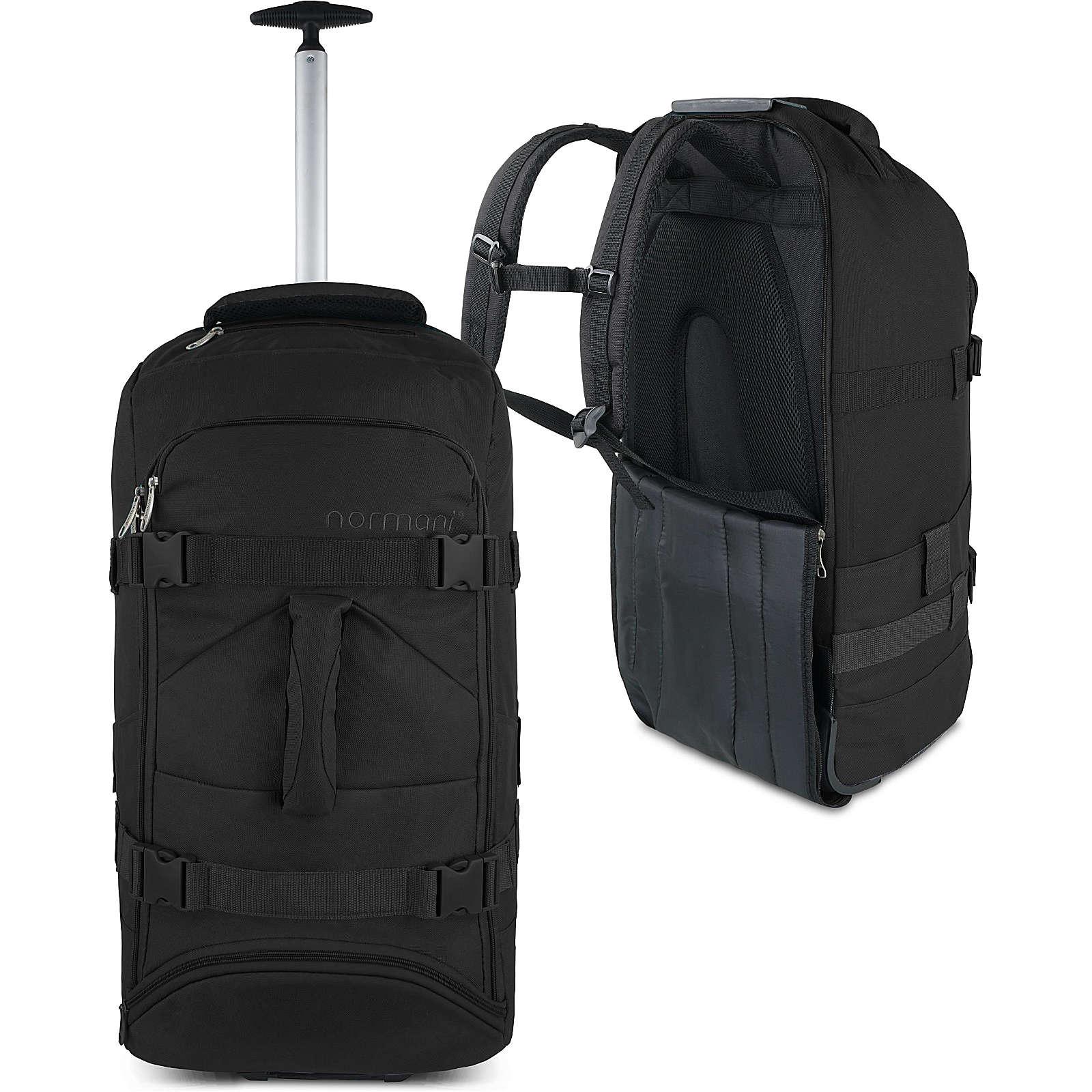 normani® Reisetasche mit Rucksackfunktion 60 Liter Melano Reisetaschen schwarz