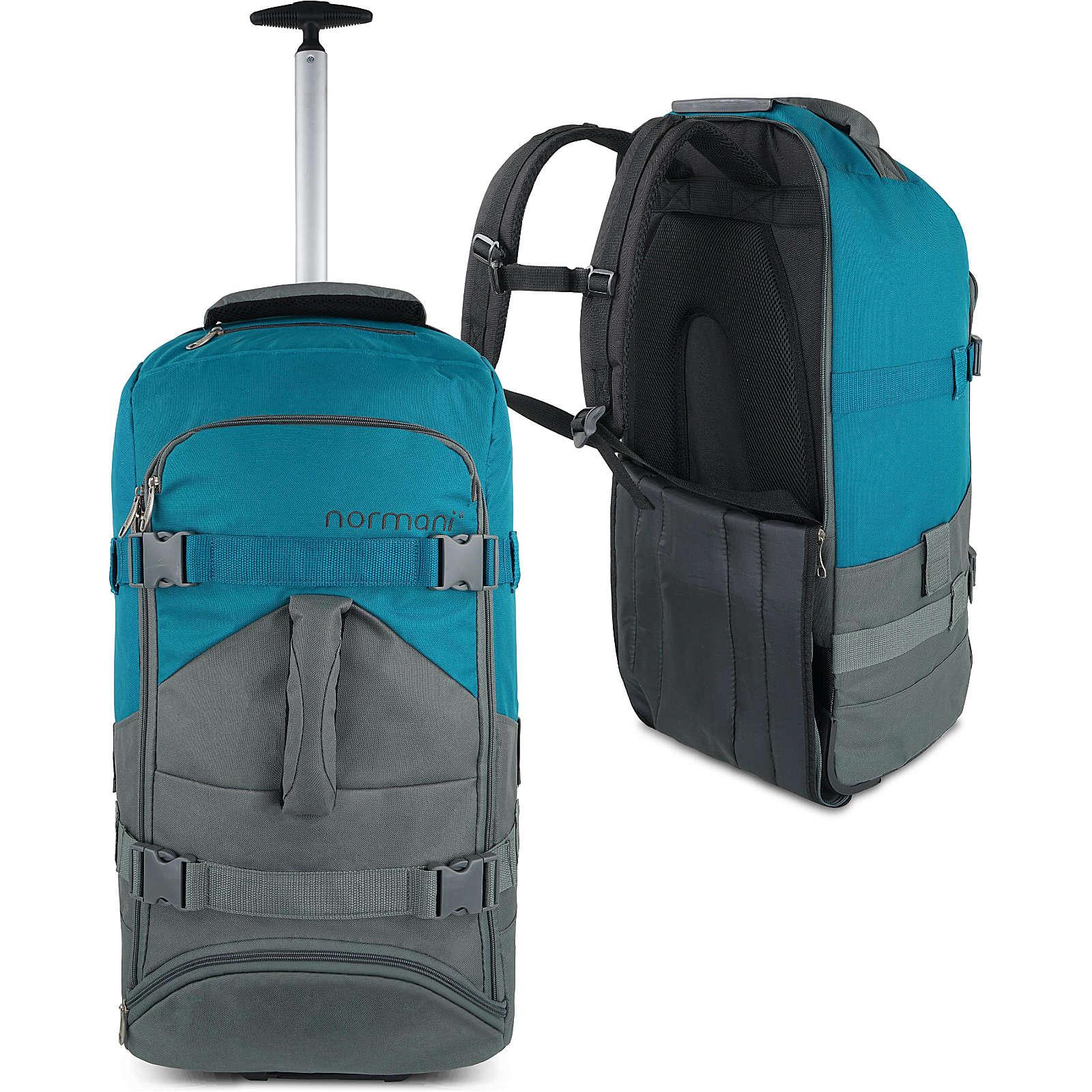 normani® Reisetasche mit Rucksackfunktion 60 Liter Melano Reisetaschen grau/grün