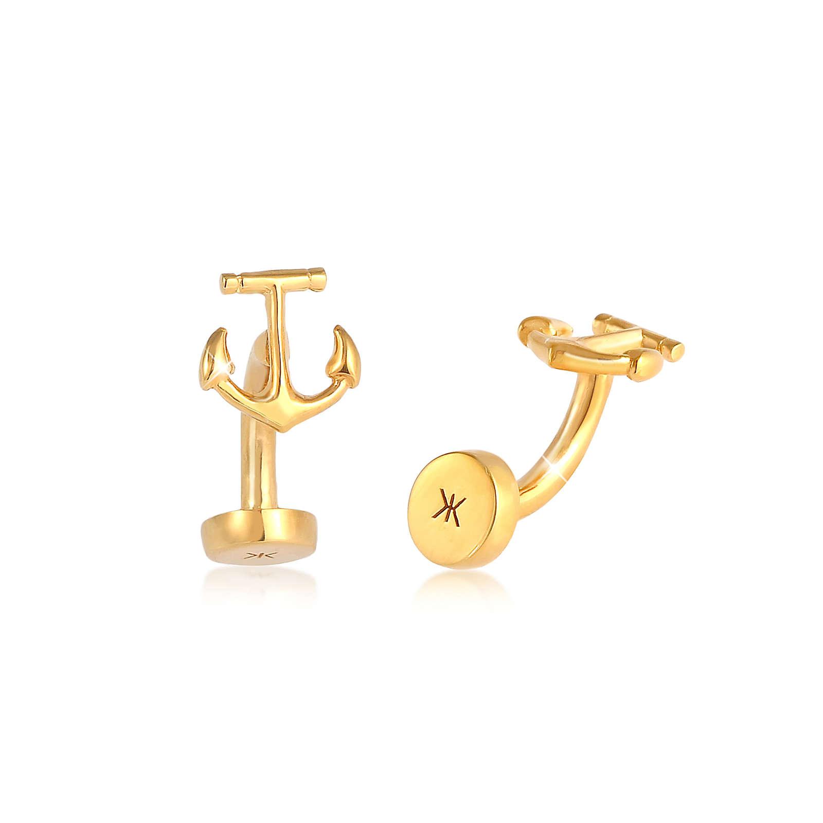 KUZZOI Manschettenknopf Anker Symbol Maritim Edel 925 Silber Manschettenknöpfe gold Herren