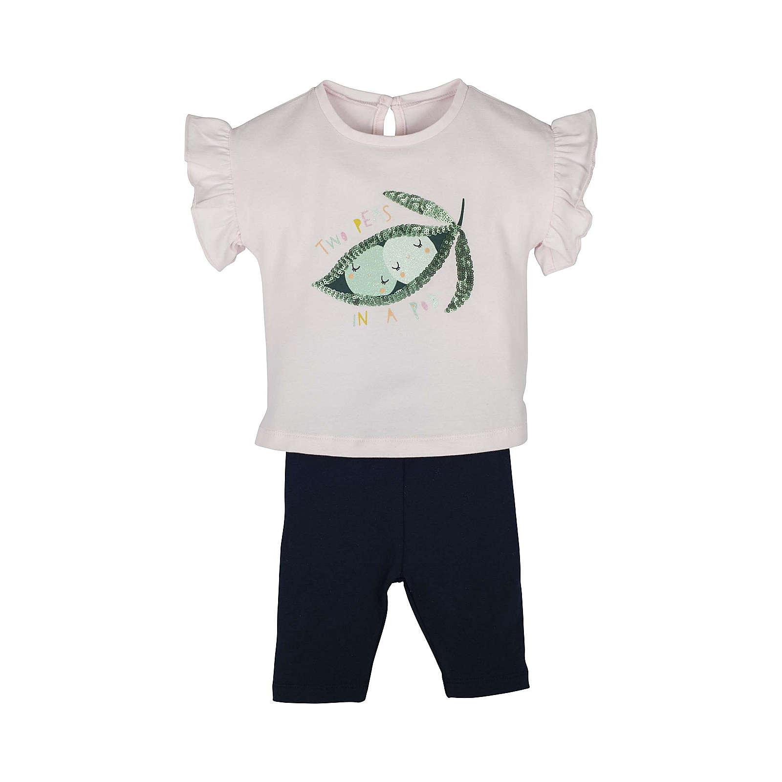 mamino Set T-Shirt mit Hose -Two peas in a pod Anzüge pink Mädchen Gr. 62/68