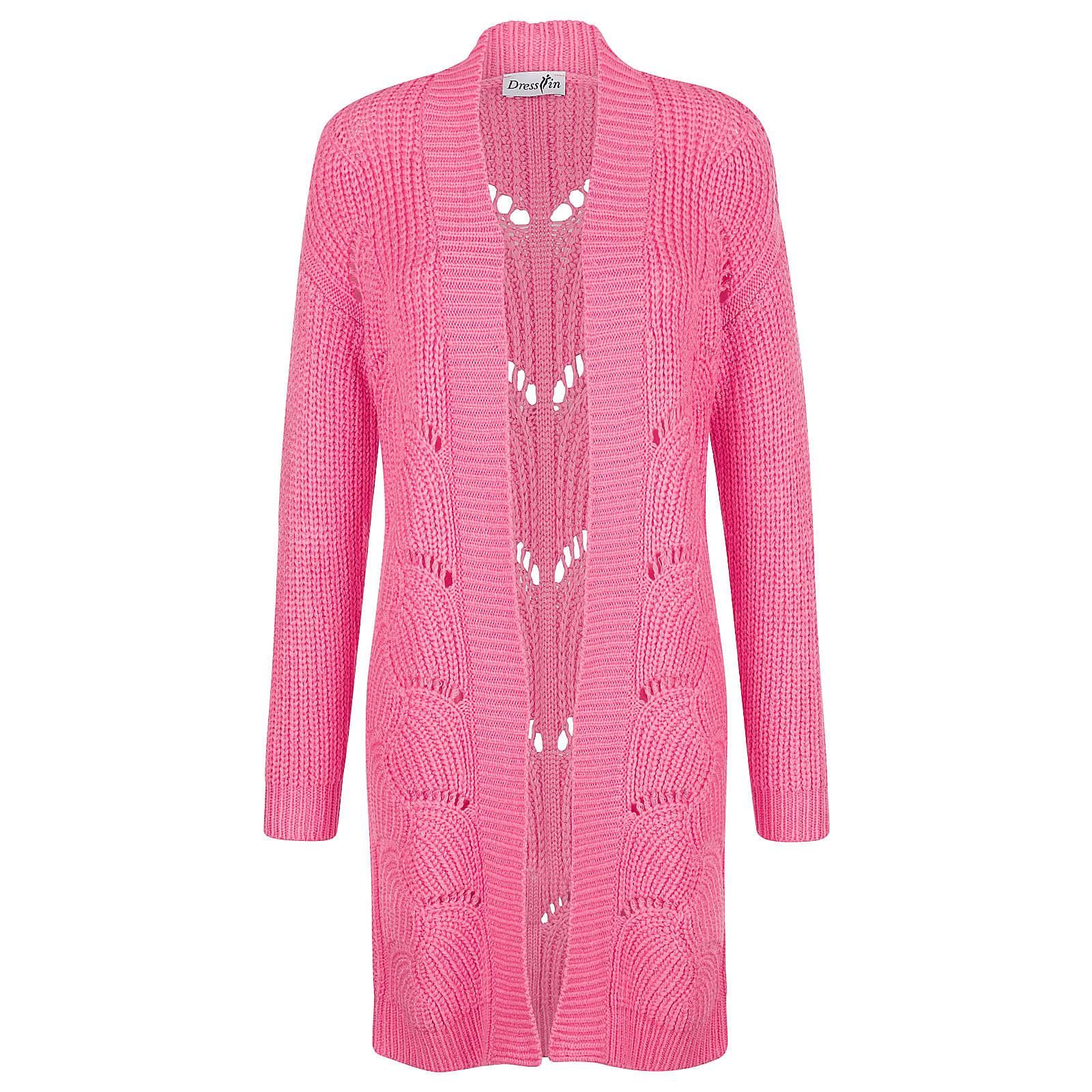 Dress In Strickjacke langarm uni Gerade halbtransparent Kunstfaser Strickjacken pink Damen Gr. 44