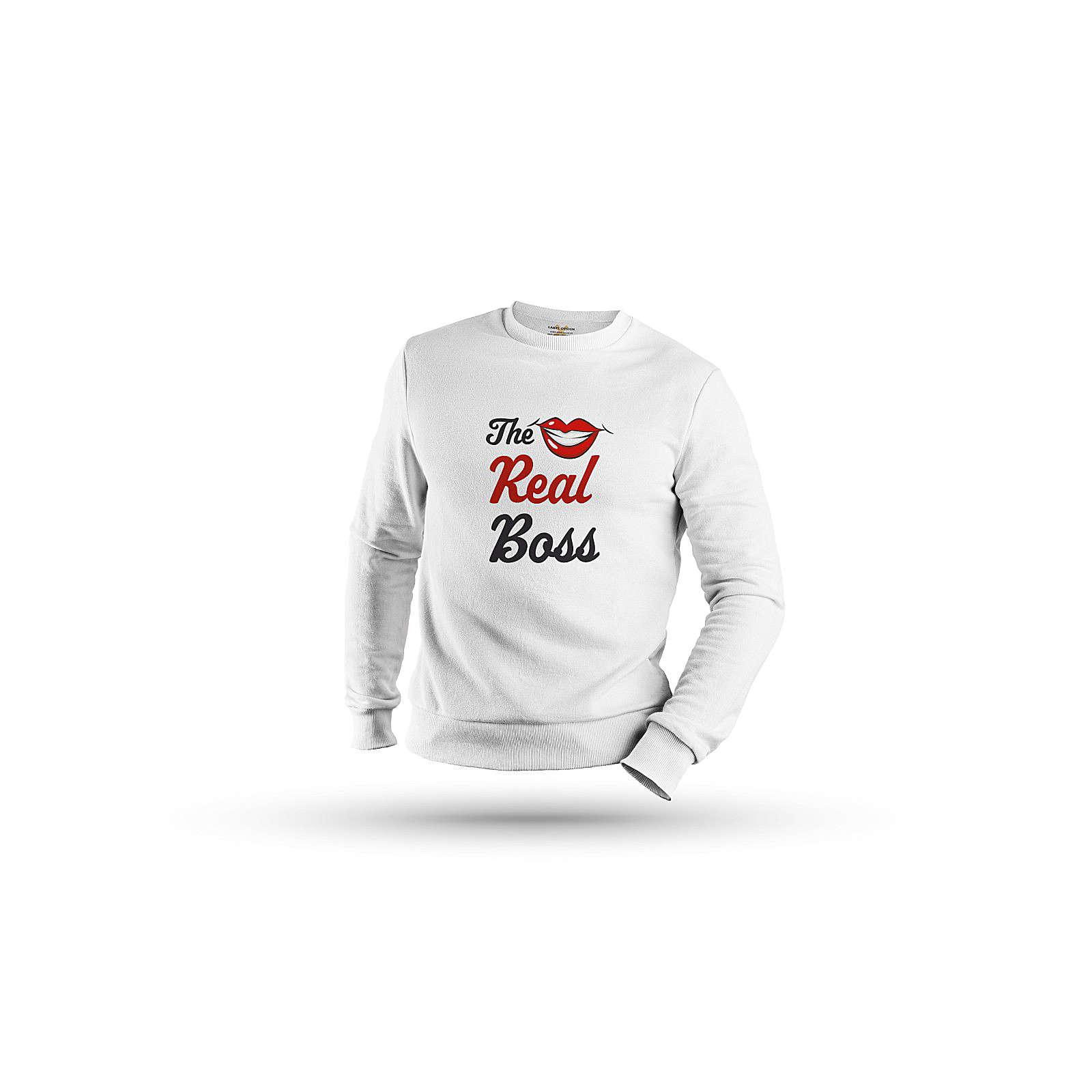 mamino Damen Sweatshirt -the boss & the real boss couple Sweatshirts weiß Damen Gr. 36