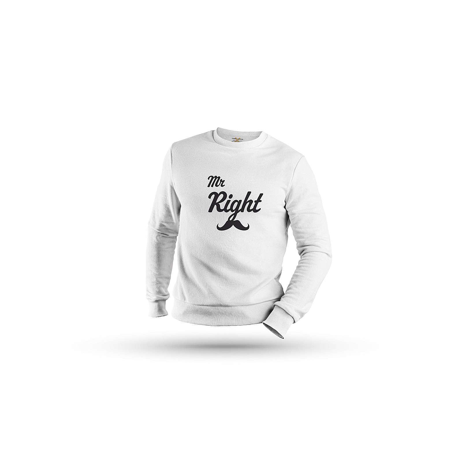 mamino Herren Sweatshirt -Mr right & Ms always right couple Sweatshirts weiß Herren Gr. 52
