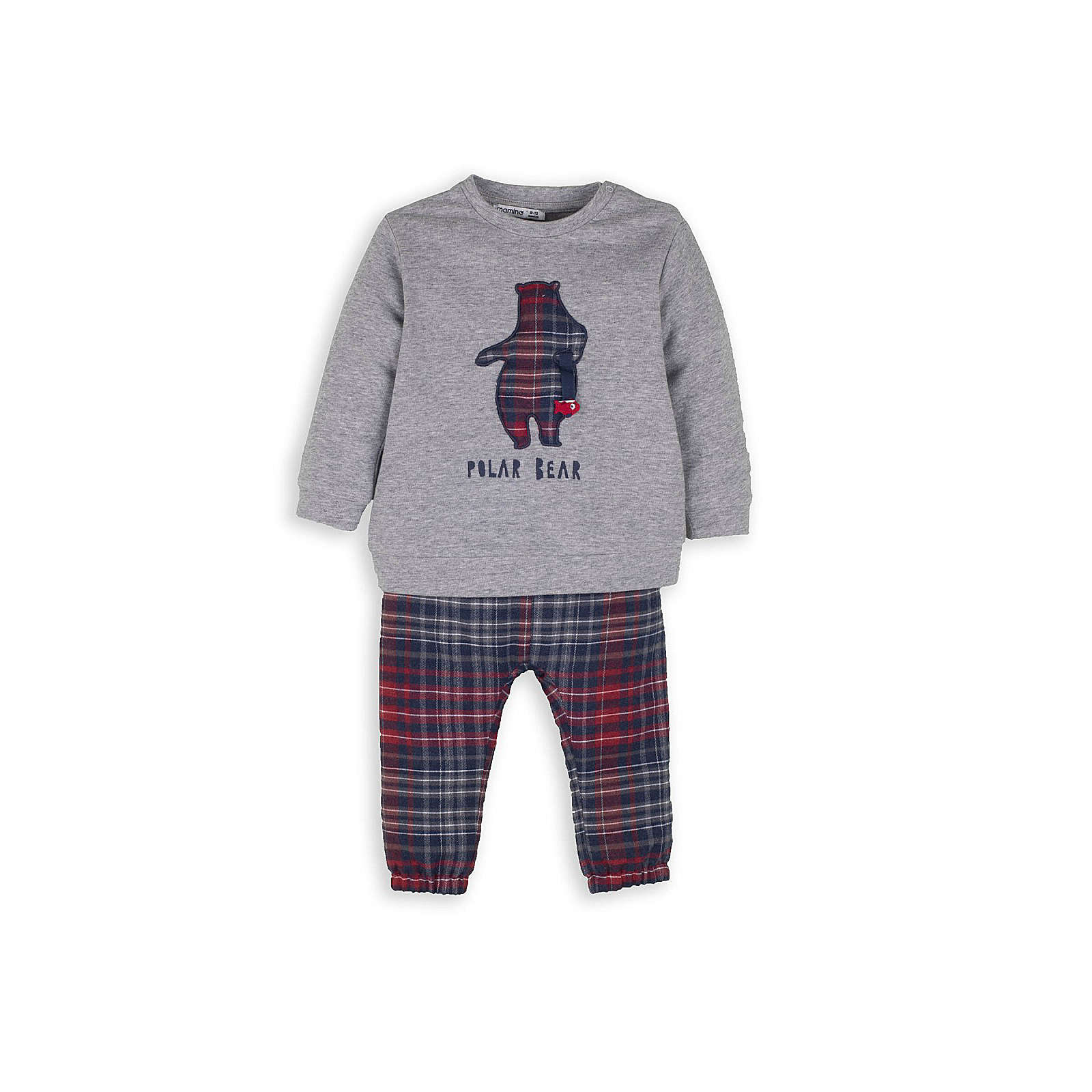 mamino Jungen Schlafanzug -Polar Bear Anzüge grau Junge Gr. 62/68