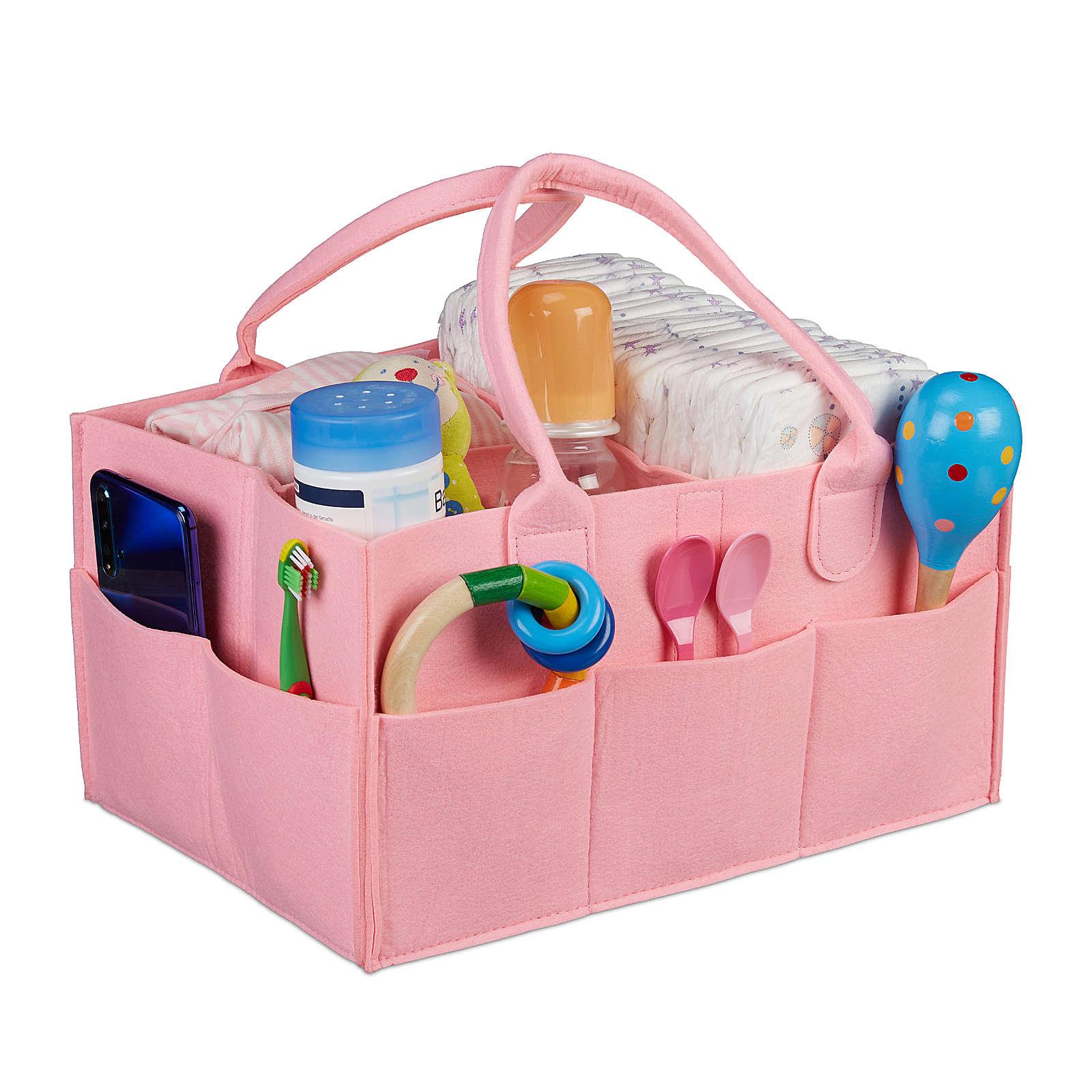 relaxdays Baby Windel Caddy bunt rosa