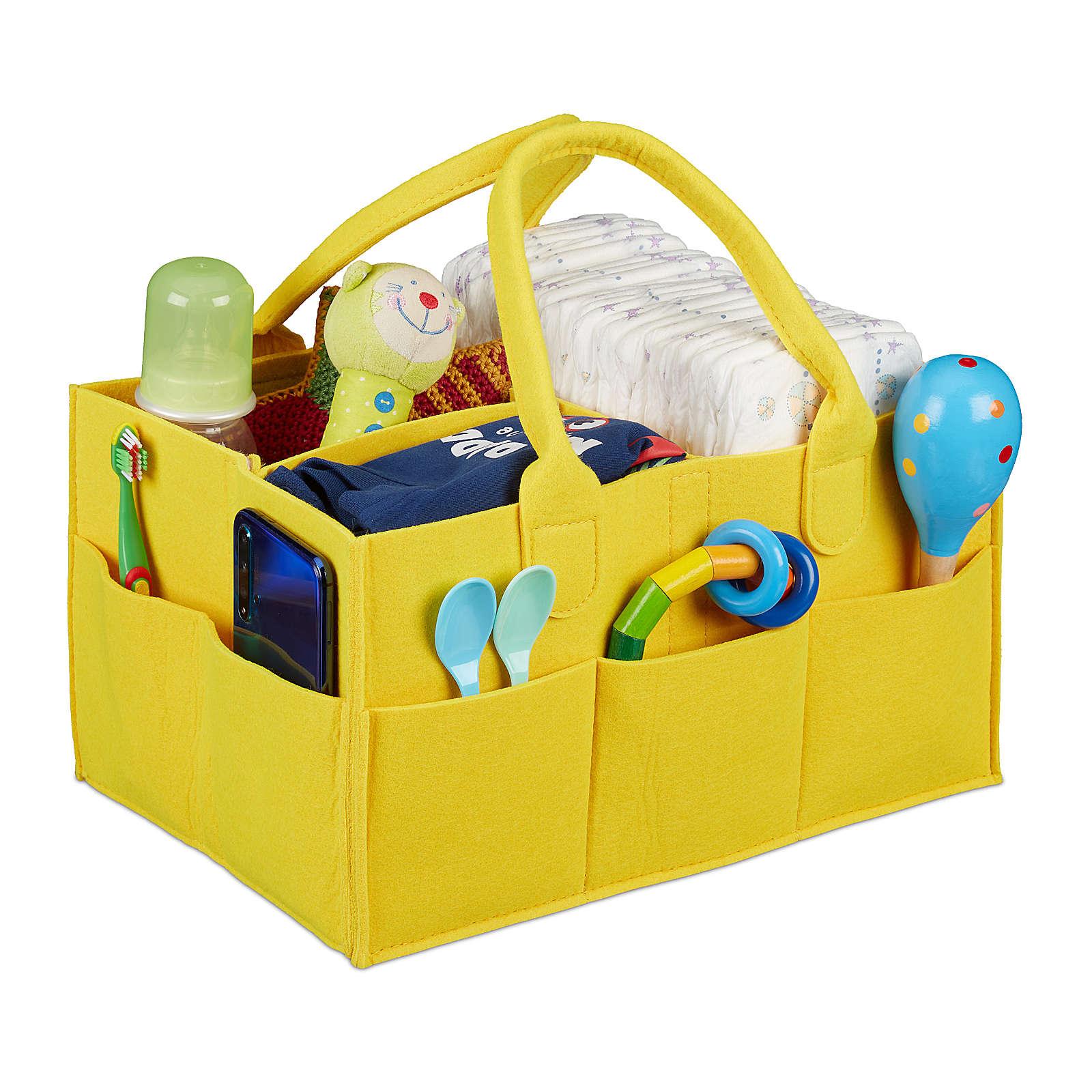relaxdays Baby Windel Caddy bunt gelb