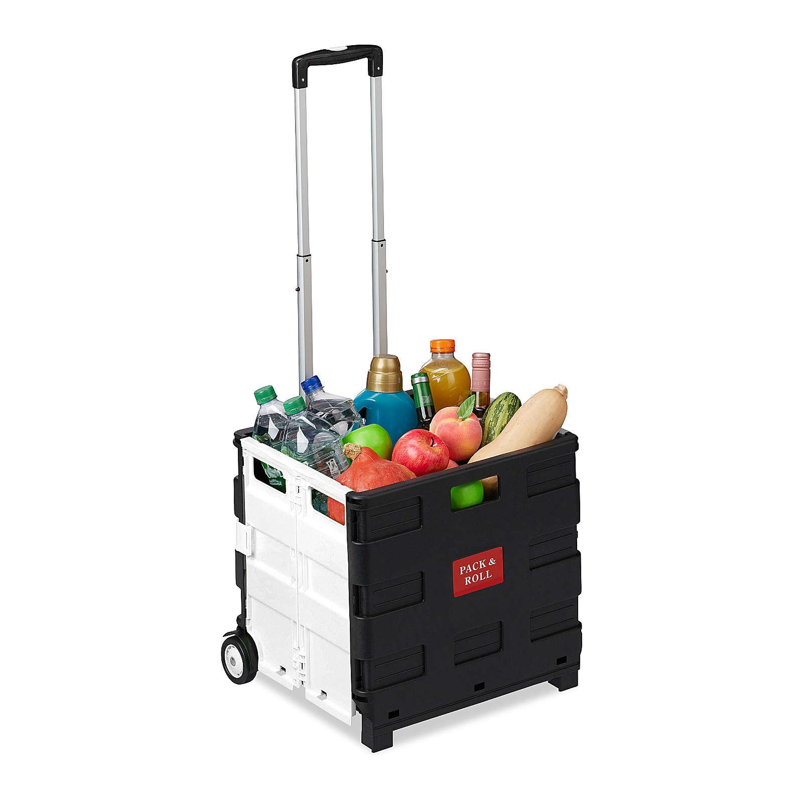 relaxdays Einkaufstrolley klappbar mit Rollen schwarz