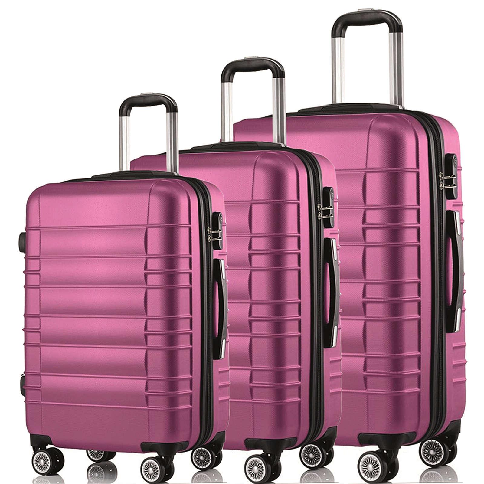 HTI-Living Kofferset 3-teilig Travelstar Koffer L: 57 x 37 x 23 cm, Koffer XL: 66 x 45 x 26 cm, Koffer XXL: 76 x 52 x 30 cm pink
