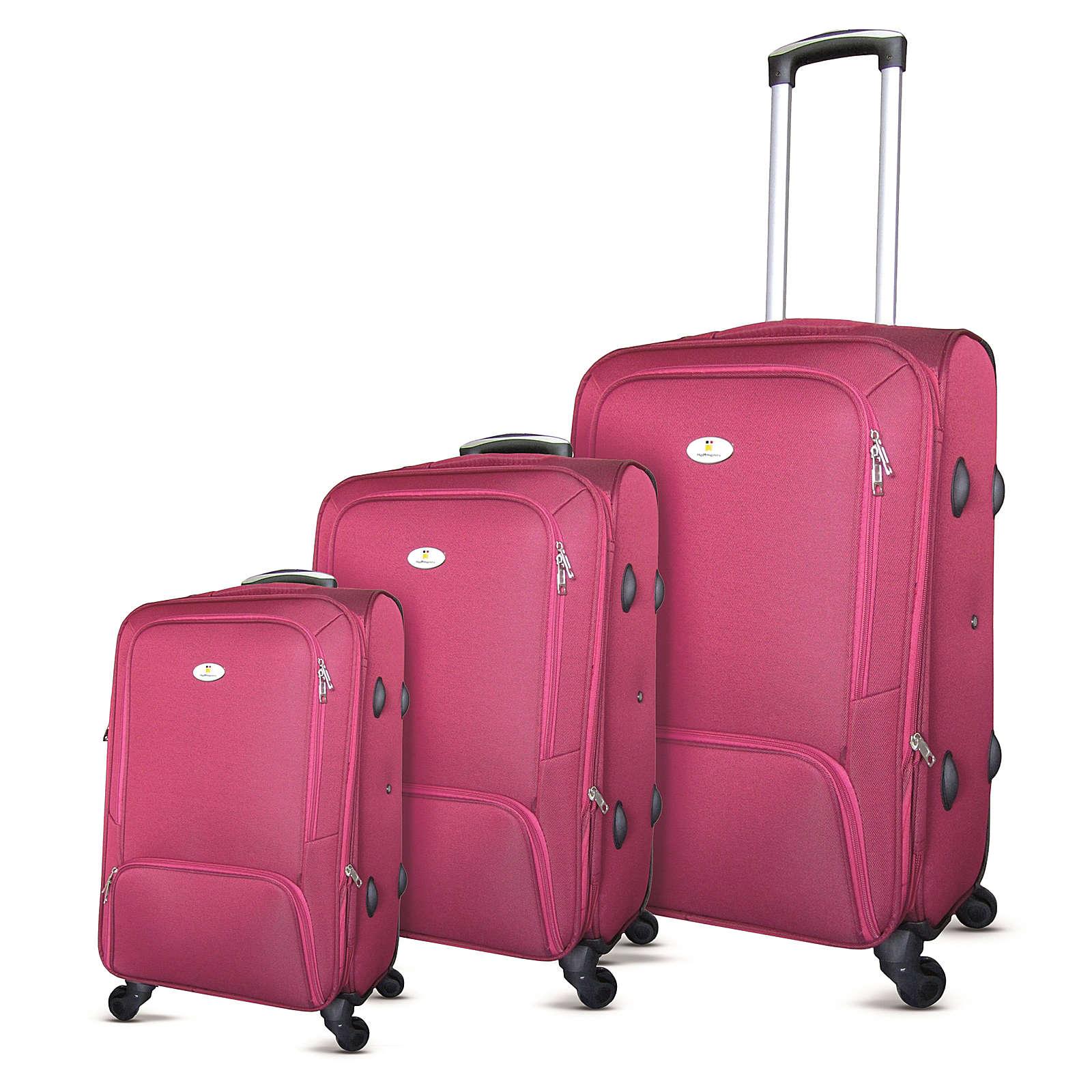 HTI-Living Reisekofferset 3-teilig Stoff Koffer klein: 55 x 34 x 25 cm, Koffer mittel: 65 x 40 x 28 cm, Koffer groß: 75 x 46 x 31 cm rot