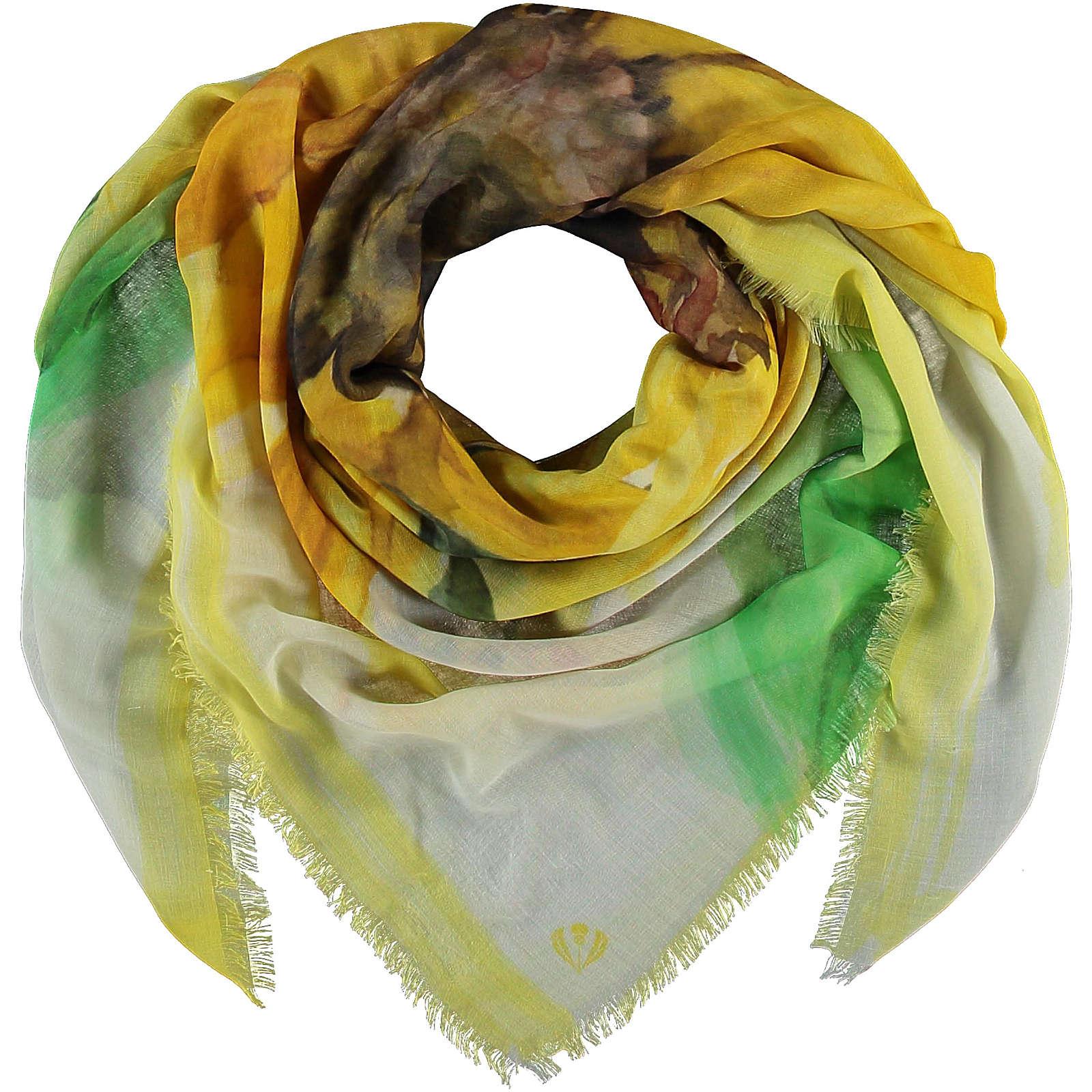 FRAAS Sustainability Edition - Florales Tuch aus recyceltem Polyester Halstücher gelb Damen Gr. one size