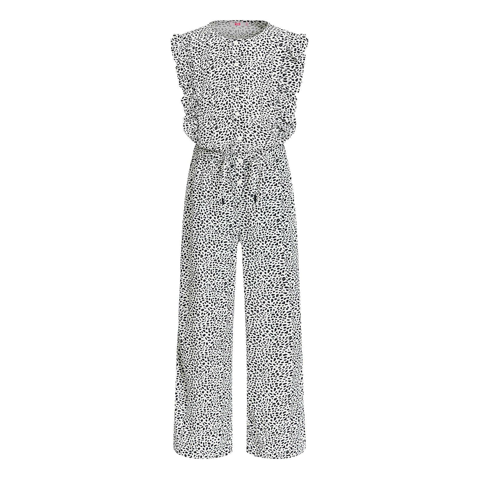 WE Fashion Mädchen-Jumpsuit mit Muster und Rüsche Jumpsuits für Mädchen weiß Mädchen Gr. 158/164