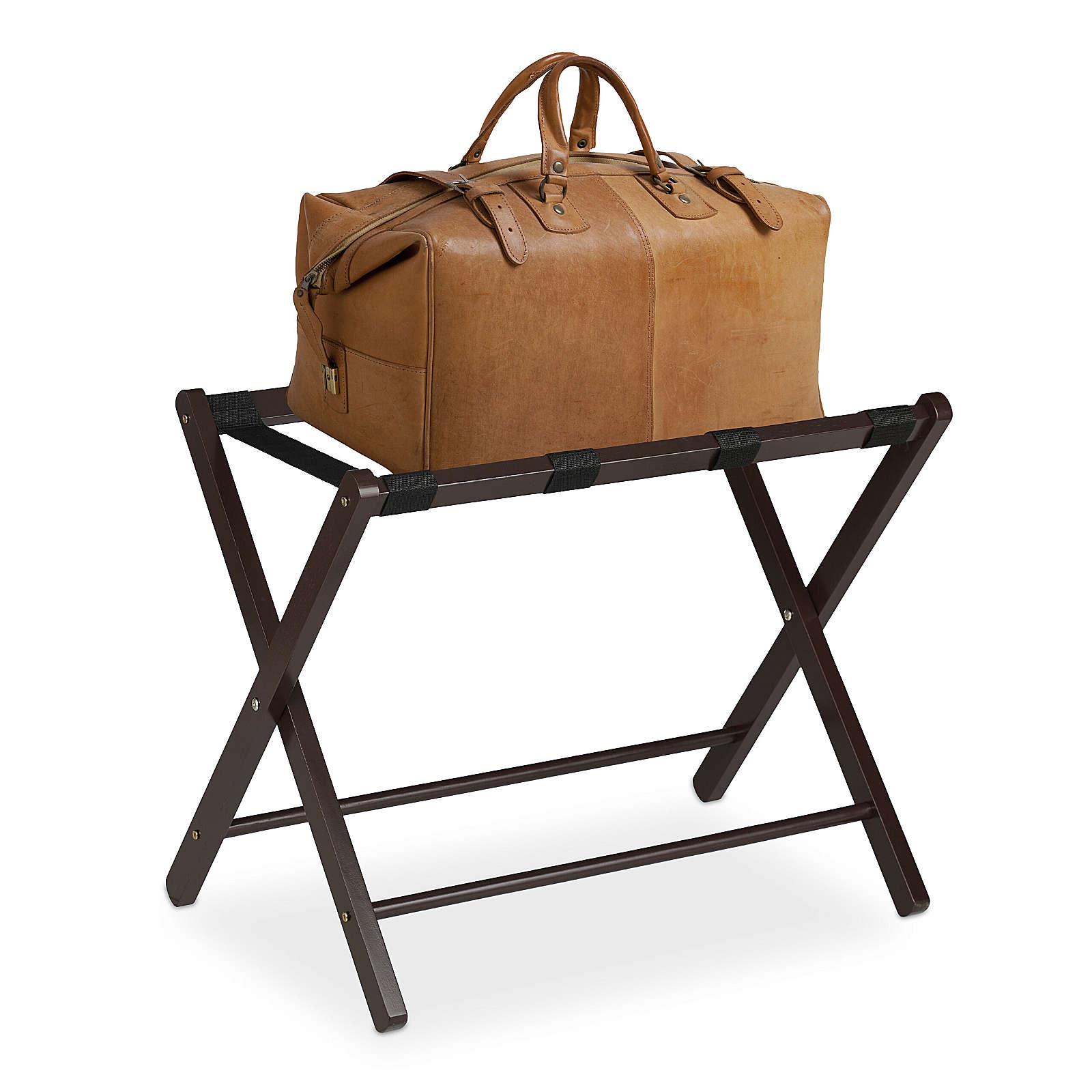 relaxdays Kofferständer Holz klappbar dunkelbraun