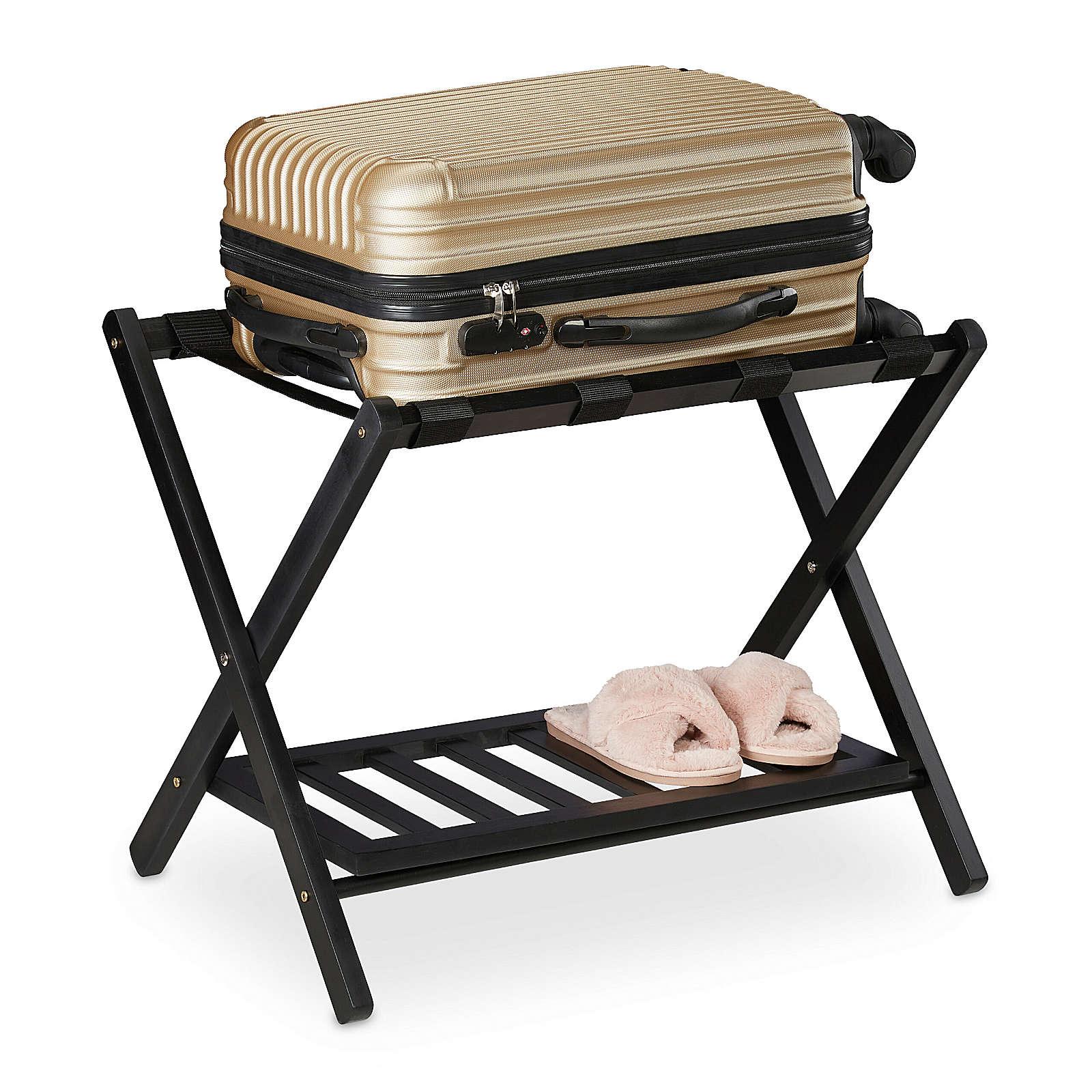 relaxdays Kofferständer klappbar mit 2 Ablagen schwarz