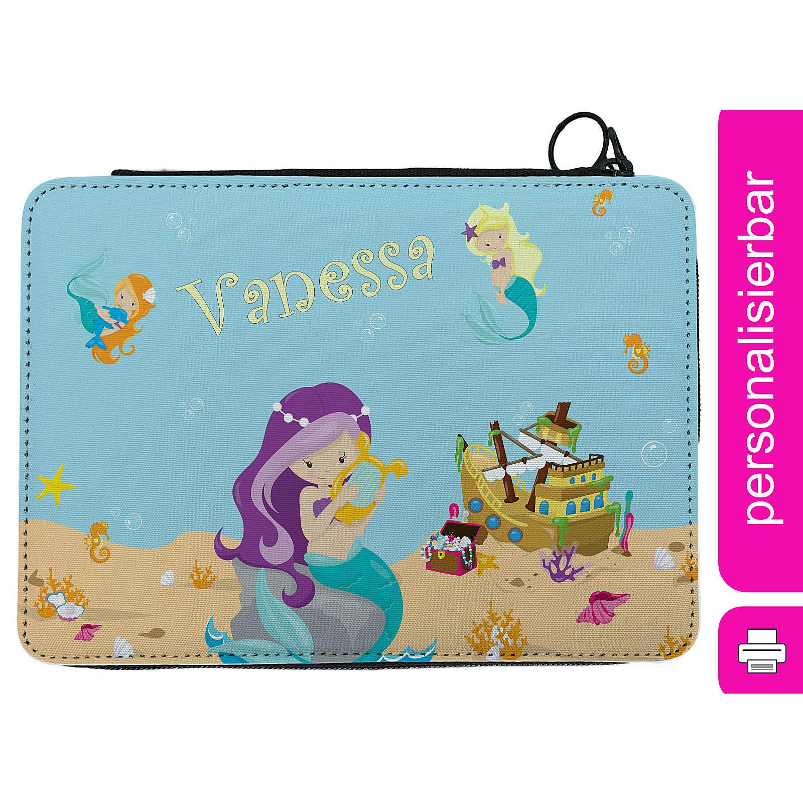 CreaDesign Federmäppchen personalisiert mit Namen Meerjungfrau befüllt mehrfarbig