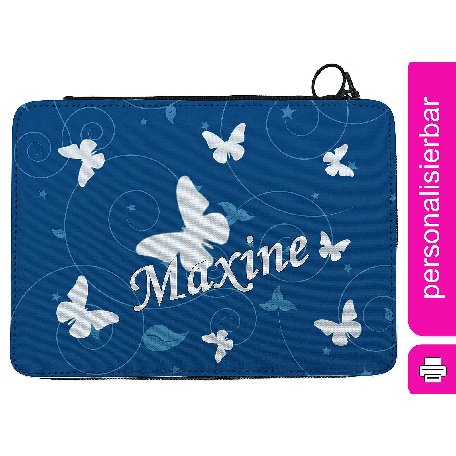 CreaDesign Federmäppchen personalisiert mit Namen Schmetterling befüllt mehrfarbig