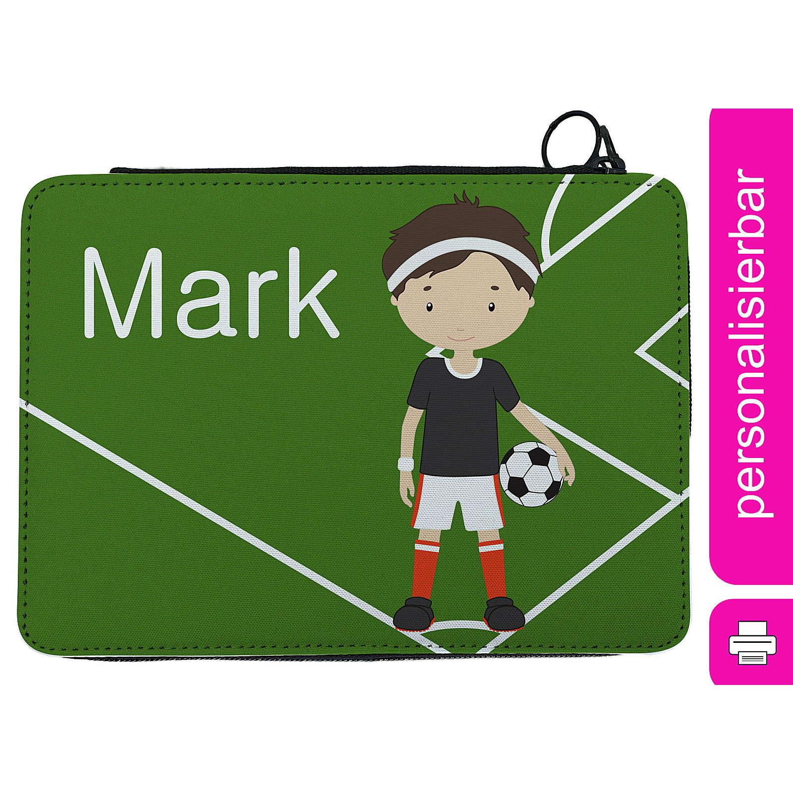 CreaDesign Federmäppchen personalisiert mit Namen Fußballspieler befüllt mehrfarbig