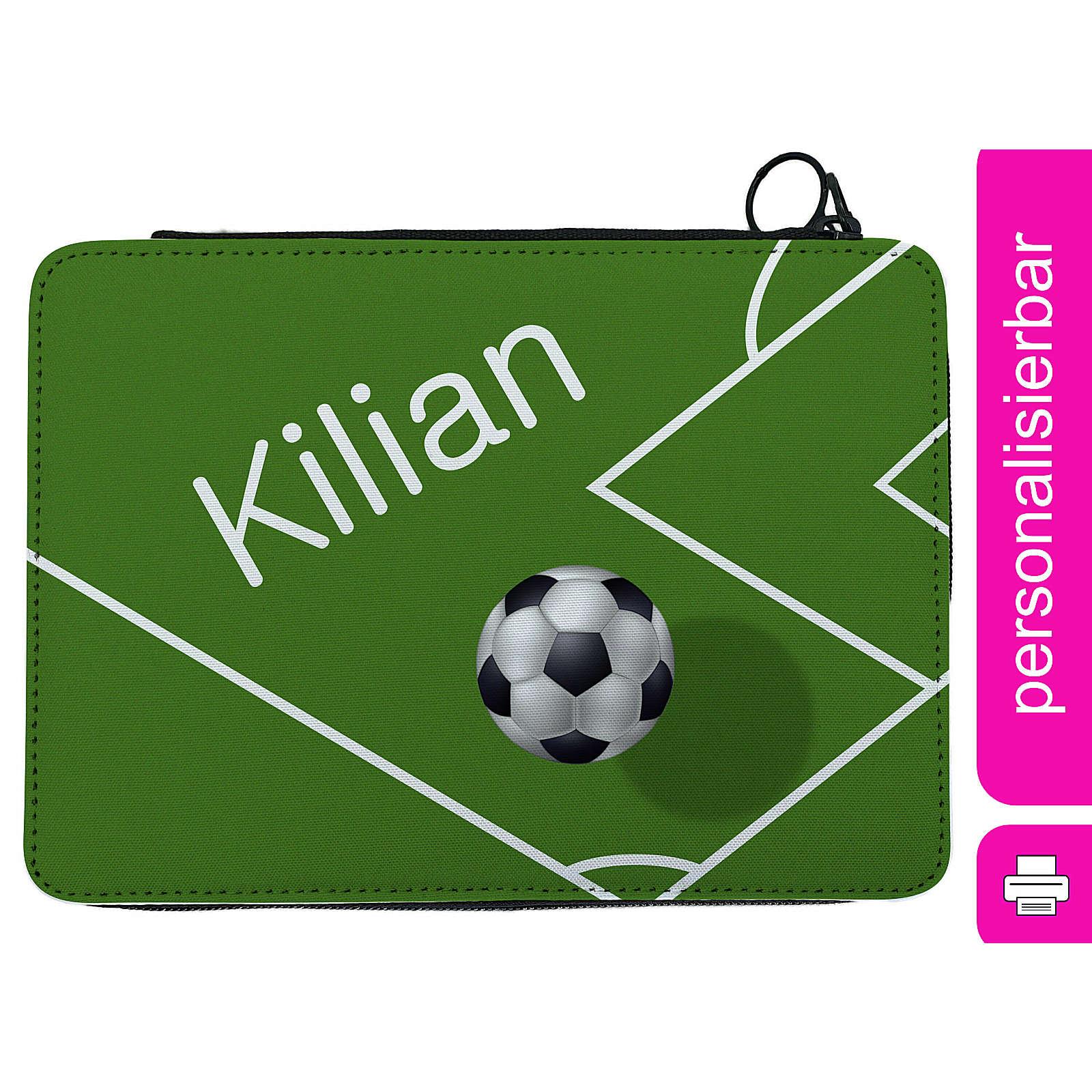 CreaDesign Federmäppchen personalisiert mit Namen Fußball befüllt mehrfarbig