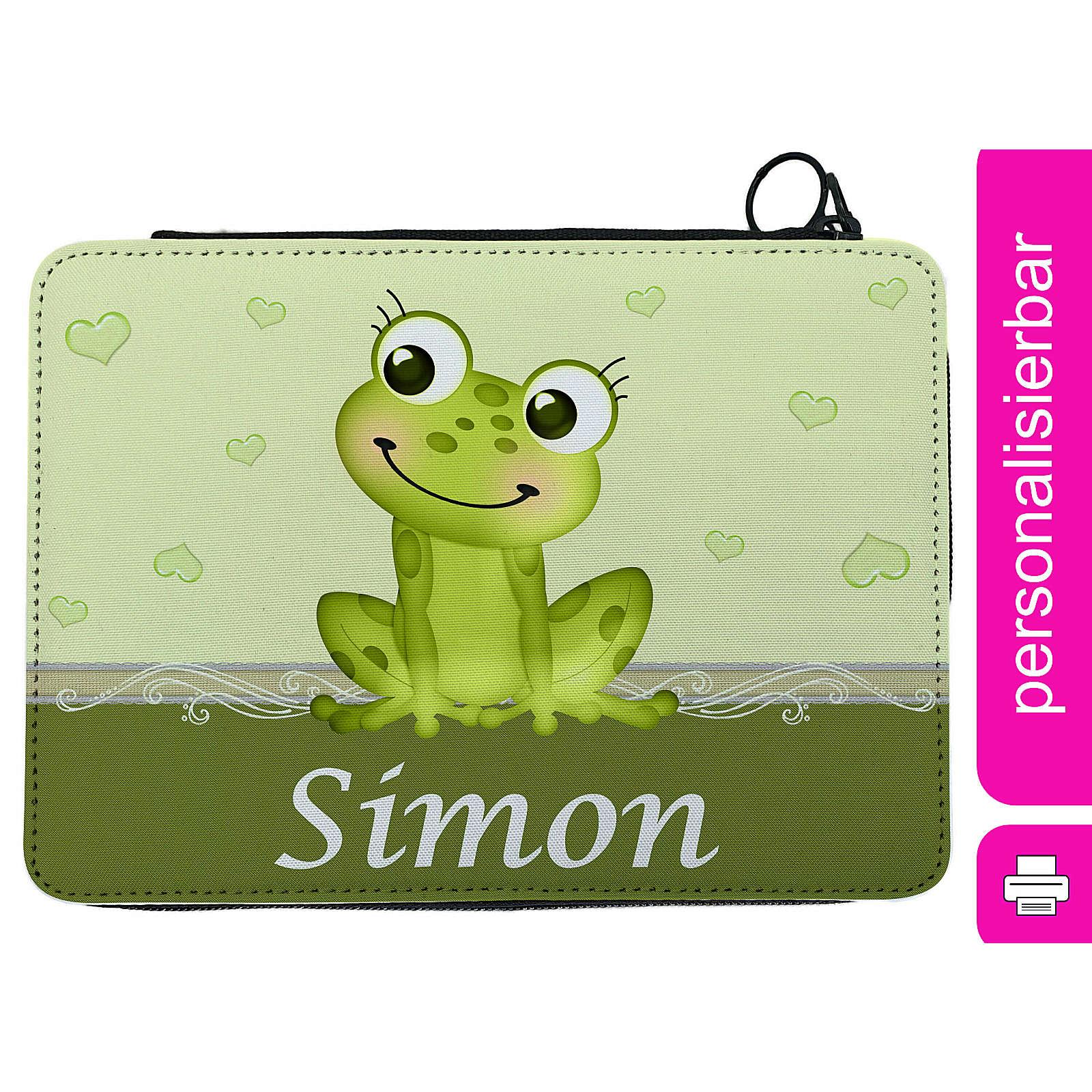 CreaDesign Federmäppchen personalisiert mit Namen Frosch befüllt mehrfarbig