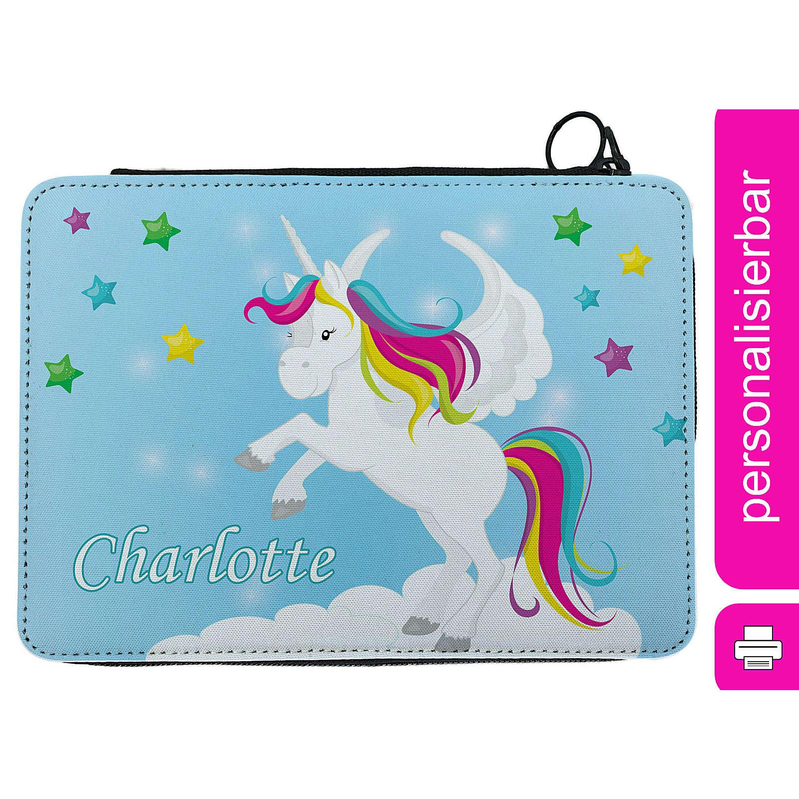 CreaDesign Federmäppchen personalisiert mit Namen Pegasus befüllt mehrfarbig
