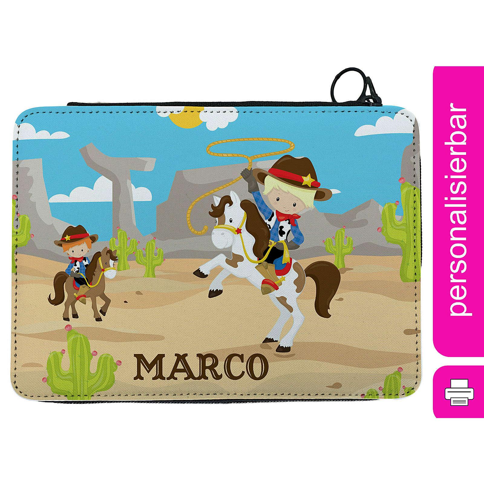 CreaDesign Federmäppchen personalisiert mit Namen Cowboy befüllt mehrfarbig