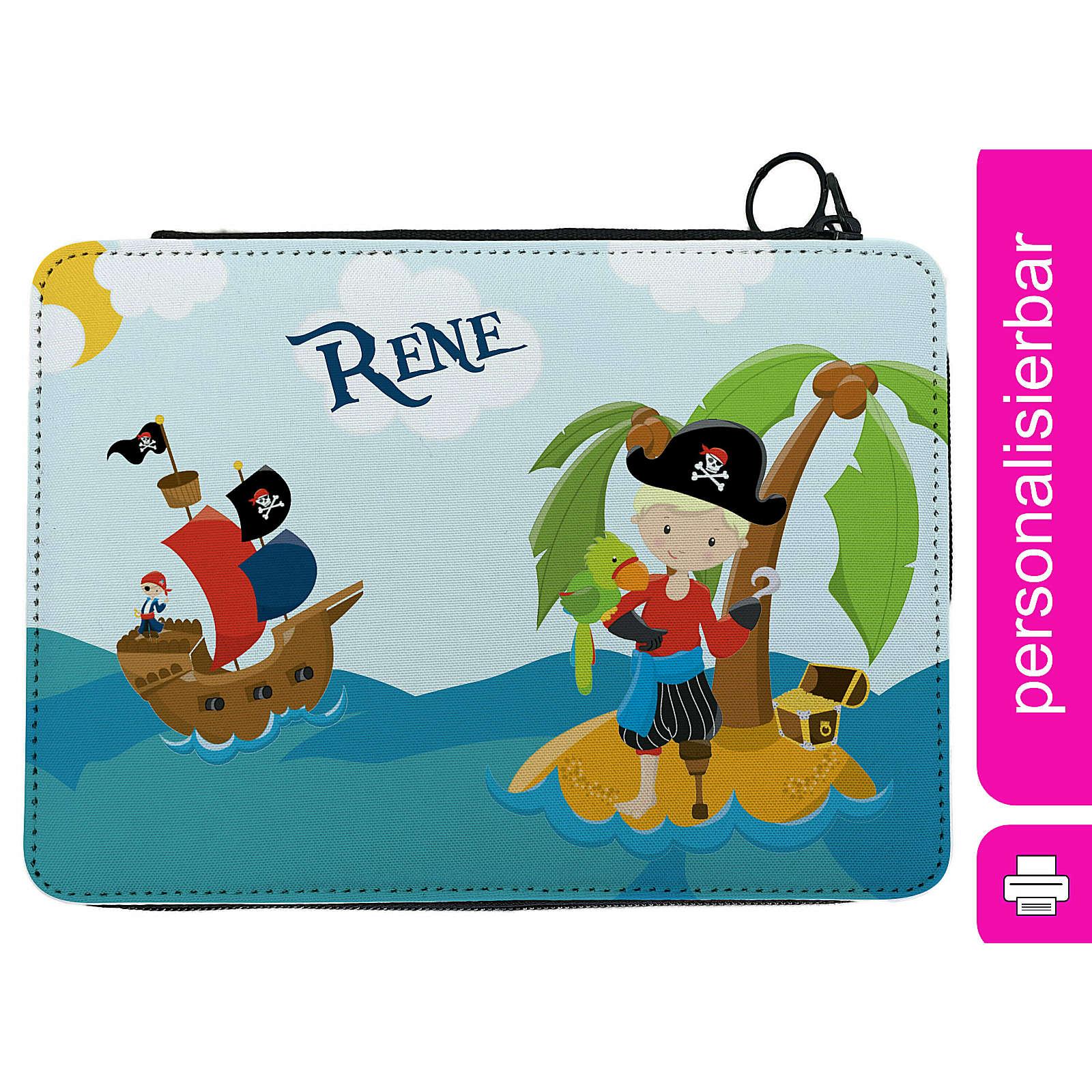 CreaDesign Federmäppchen personalisiert mit Namen Pirat nah befüllt mehrfarbig