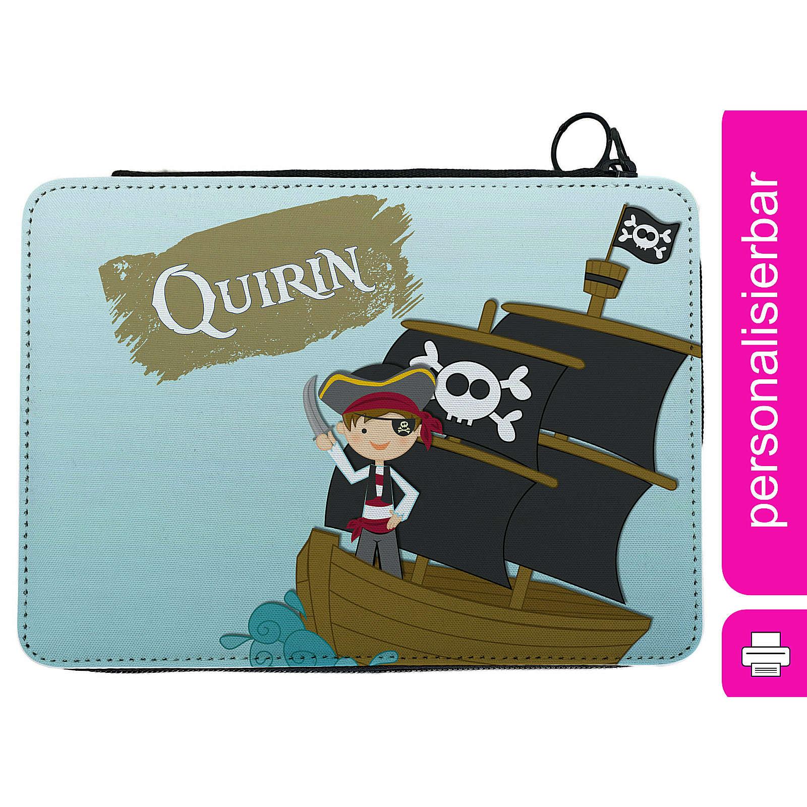 CreaDesign Federmäppchen personalisiert mit Namen Pirat befüllt mehrfarbig