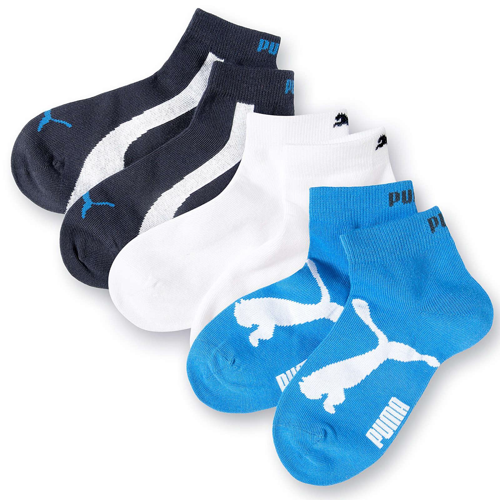 PUMA Kinder Sneaker Strümpfe 3er-Pack blau/weiß Junge Gr. 27-30