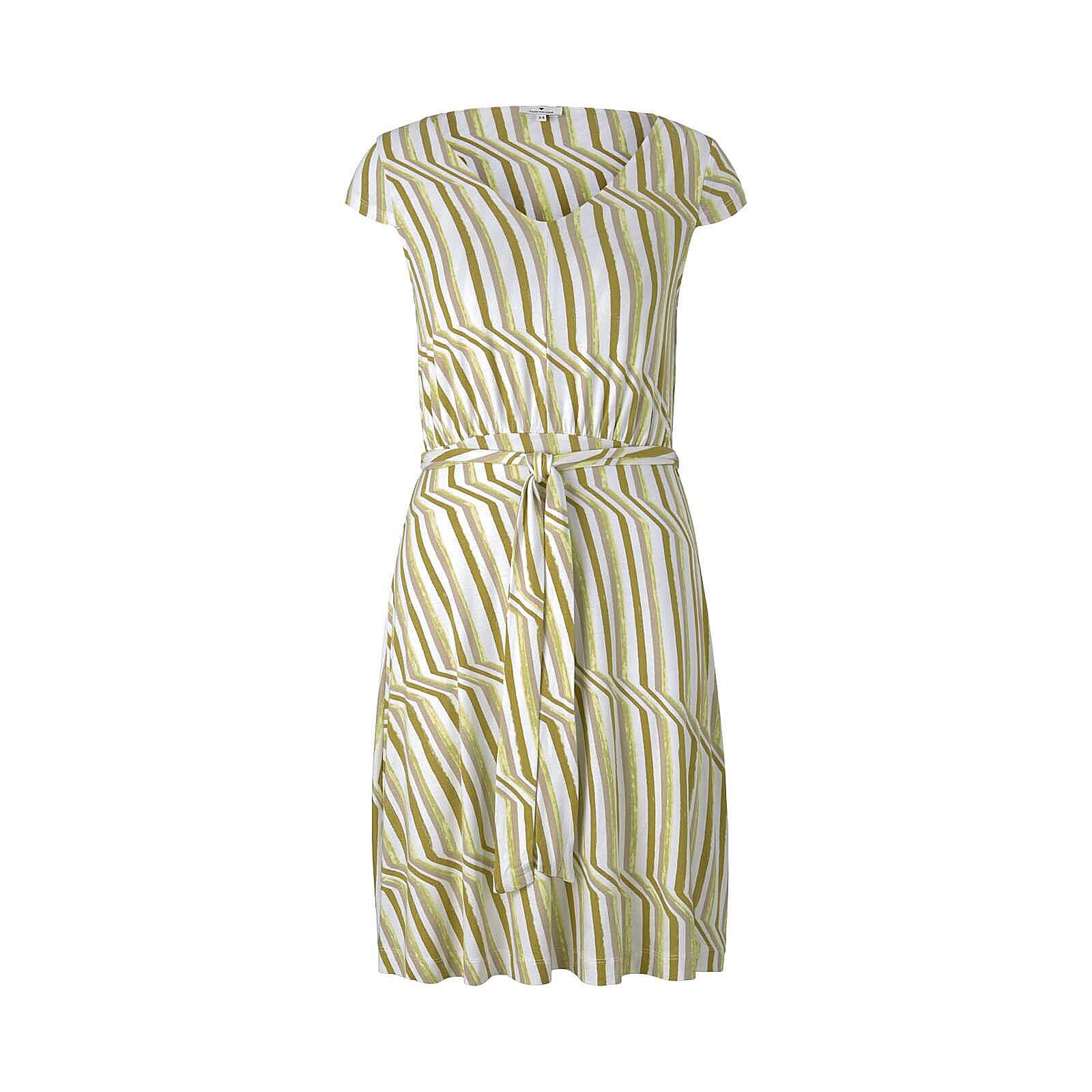 TOM TAILOR Kleider & Jumpsuits Gemustertes Jerseykleid mit Bindegürtel Jerseykleider grün/weiß Damen Gr. 34