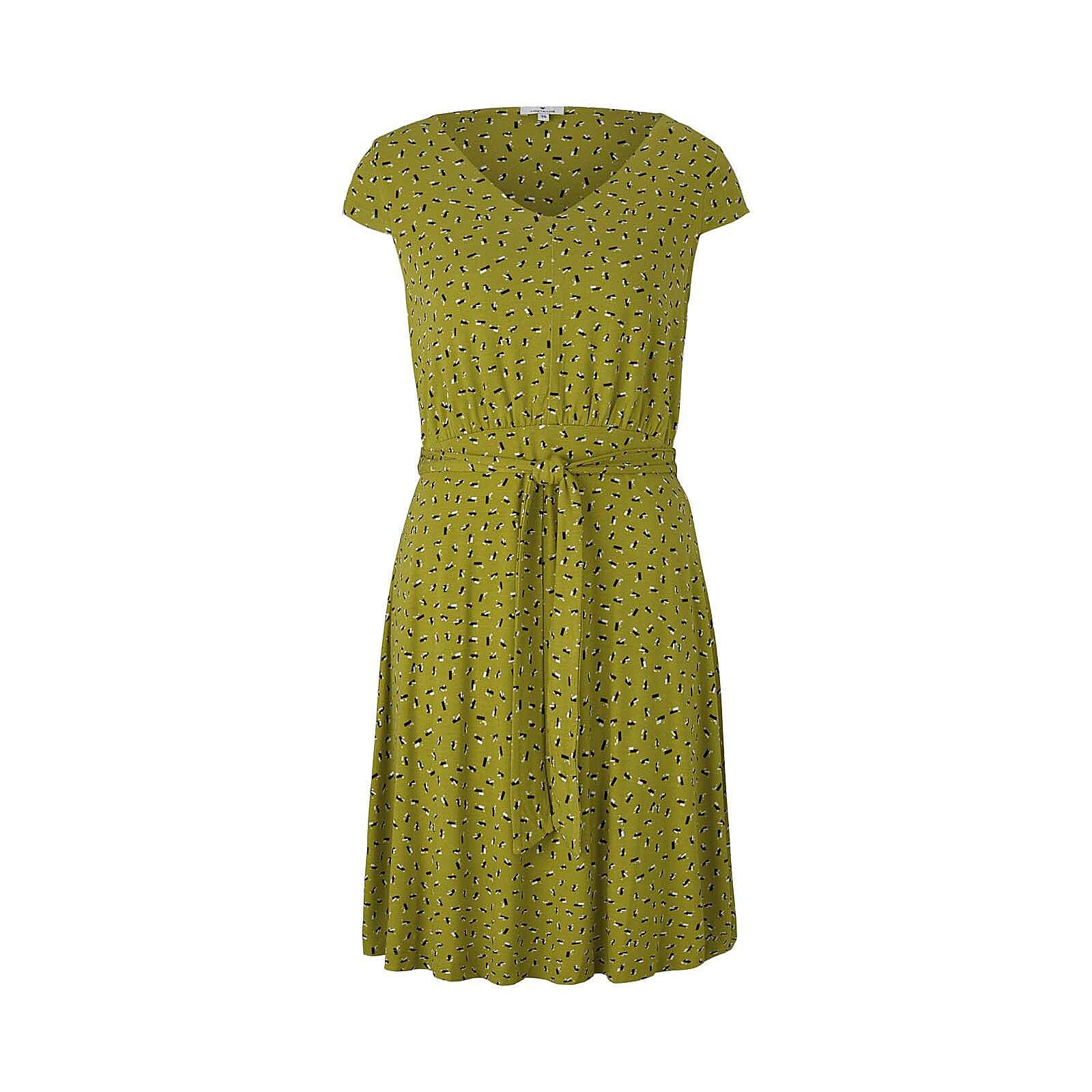 TOM TAILOR Kleider & Jumpsuits Gemustertes Jerseykleid mit Bindegürtel Jerseykleider grün Damen Gr. 44