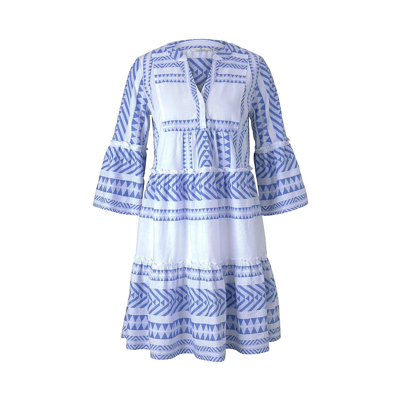TOM TAILOR Kleider & Jumpsuits Gemustertes Boho-Kleid mit Volants Jerseykleider weiß-kombi Damen Gr. 40
