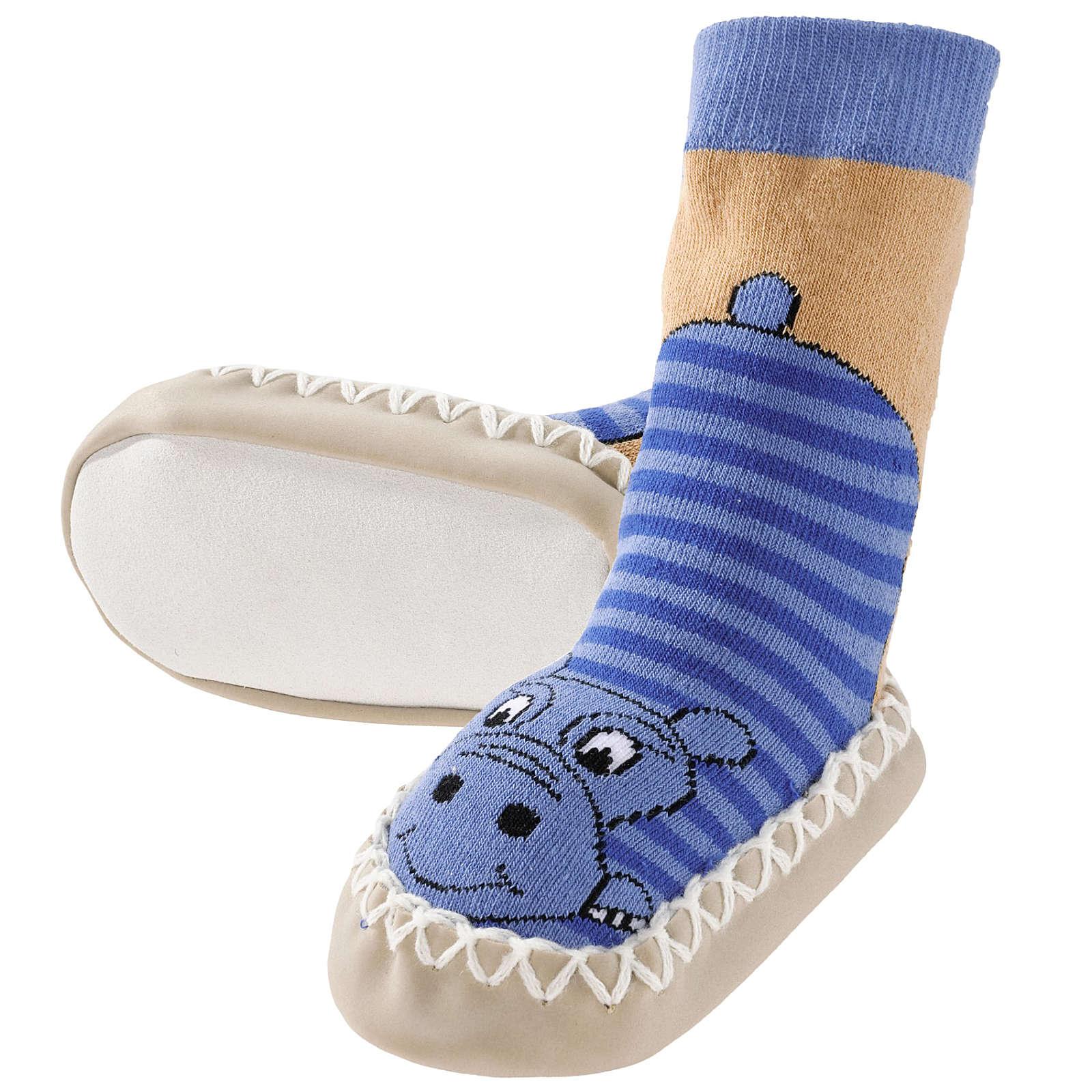 Playshoes Kinder Hausschuhe Nilpferd blau Junge Gr. 17/18