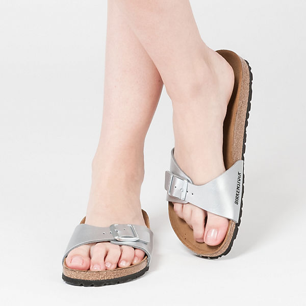 BIRKENSTOCK, Madrid schmal Qualität Pantoletten, silber  Gute Qualität schmal beliebte Schuhe 9022c6
