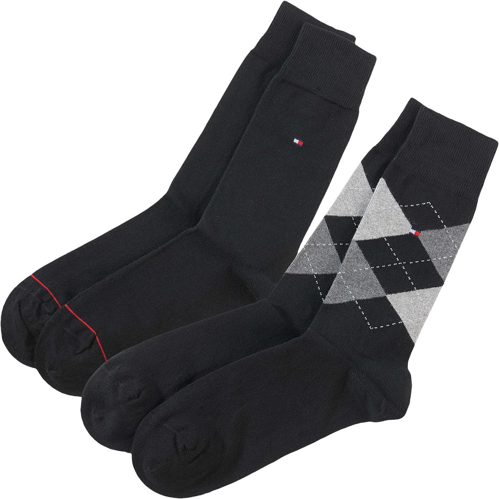 TOMMY HILFIGER 2 Paar Socken schwarz Herren Gr. 39-42