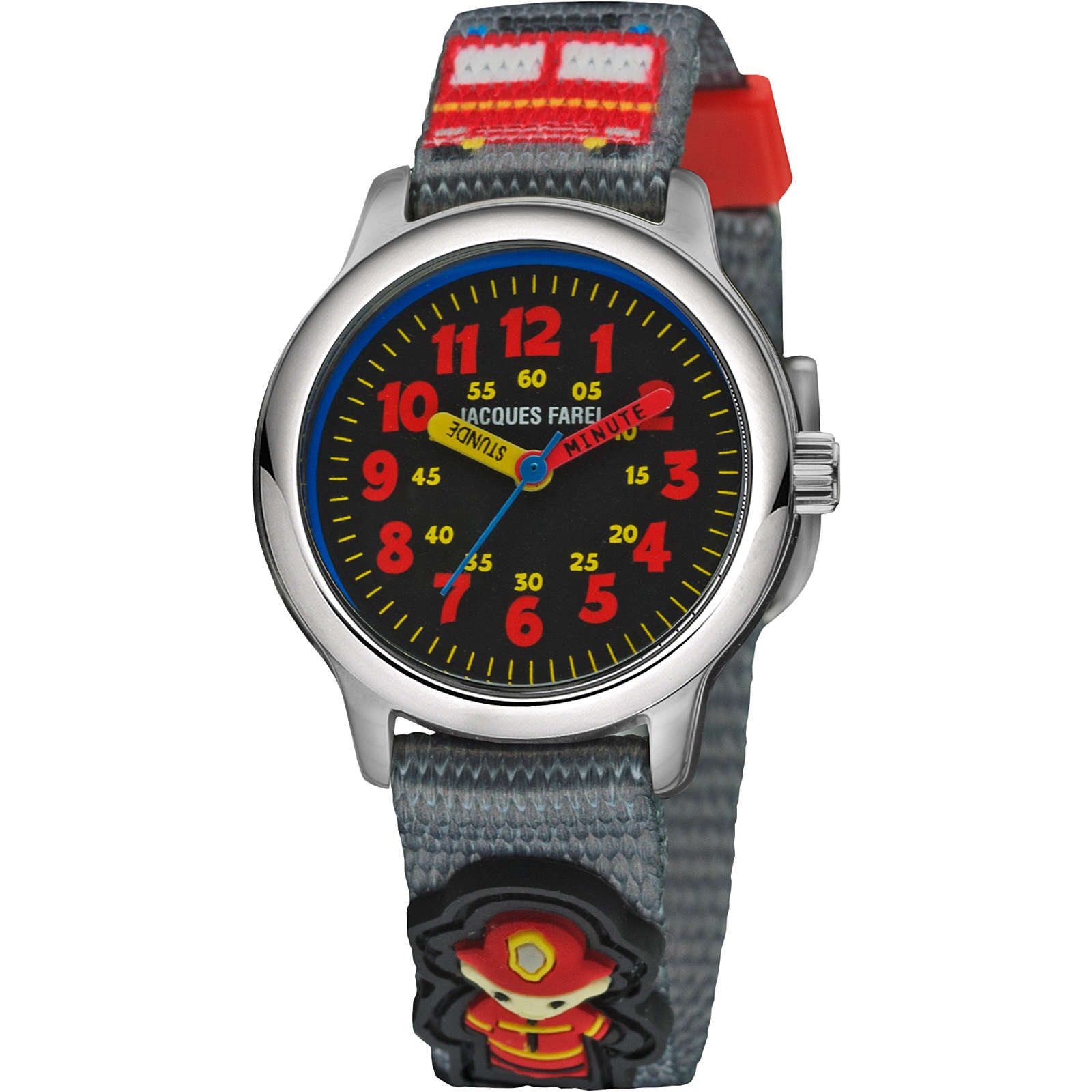 JACQUES FAREL Kinder Armbanduhr Feuerwehr Titan...